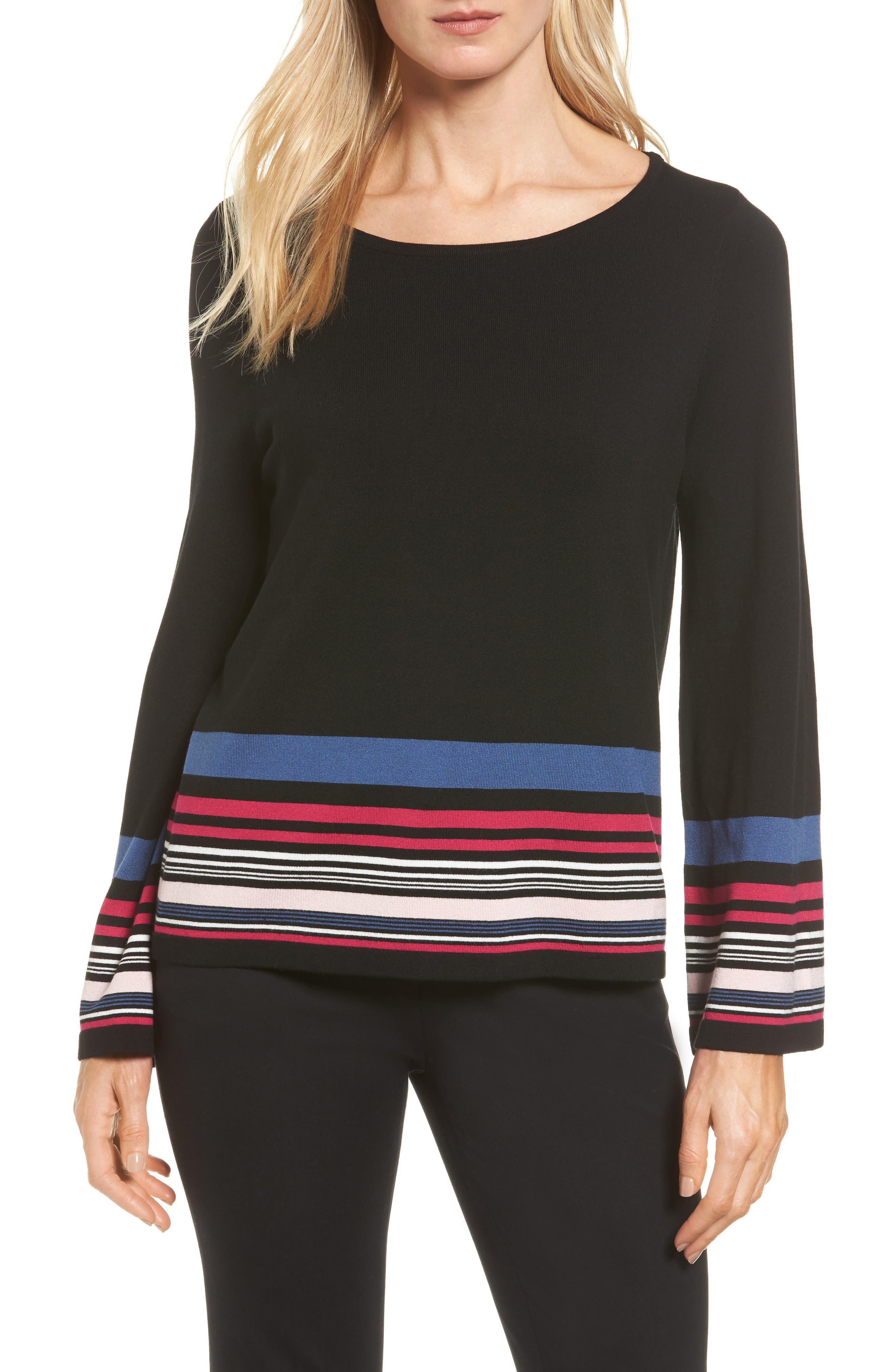 Vince Camuto Stripe Bell Sleeve Sweater (Regular & Petite)