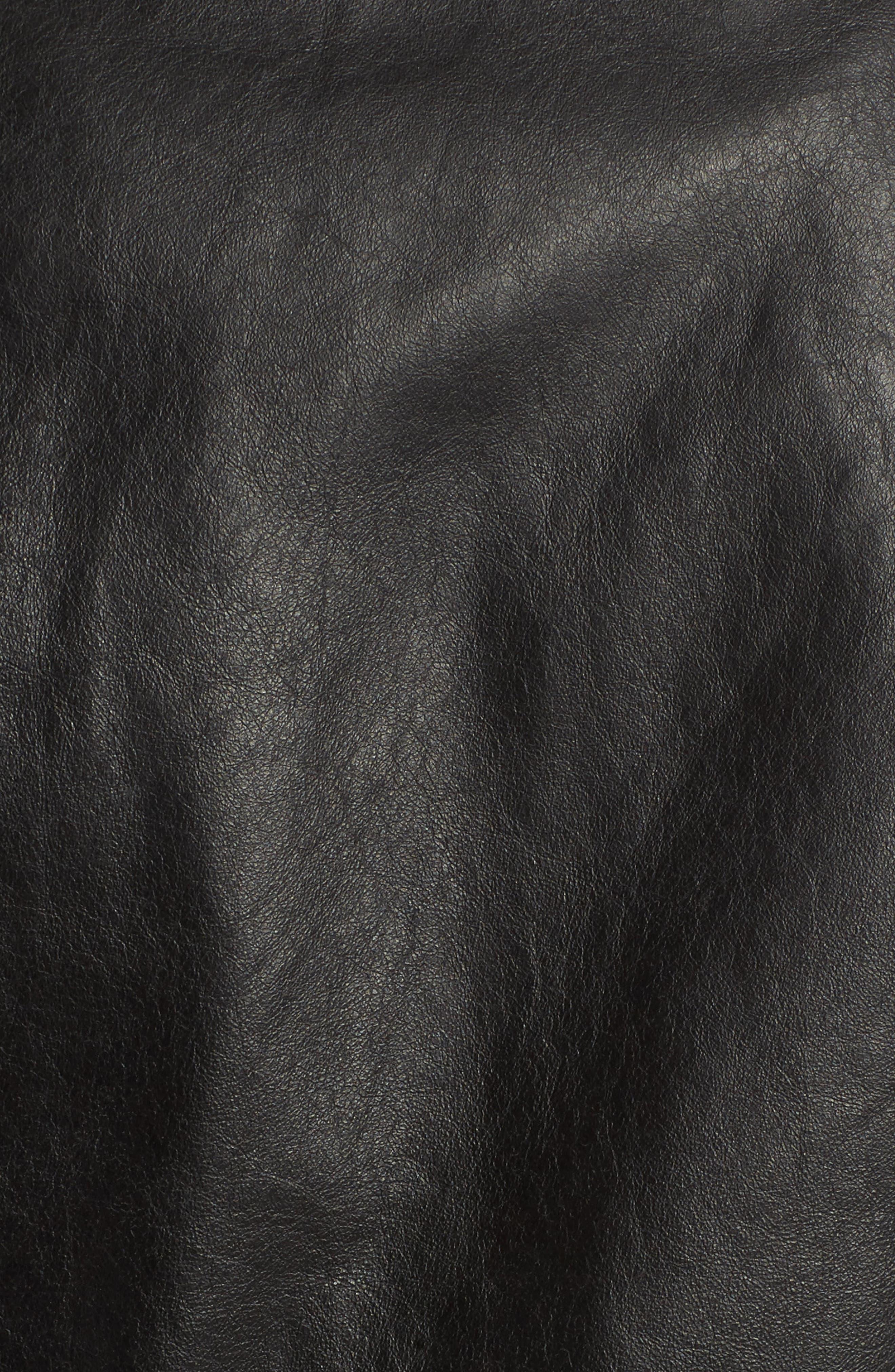 Boyfriend Leather Jacket,                             Alternate thumbnail 5, color,                             Black