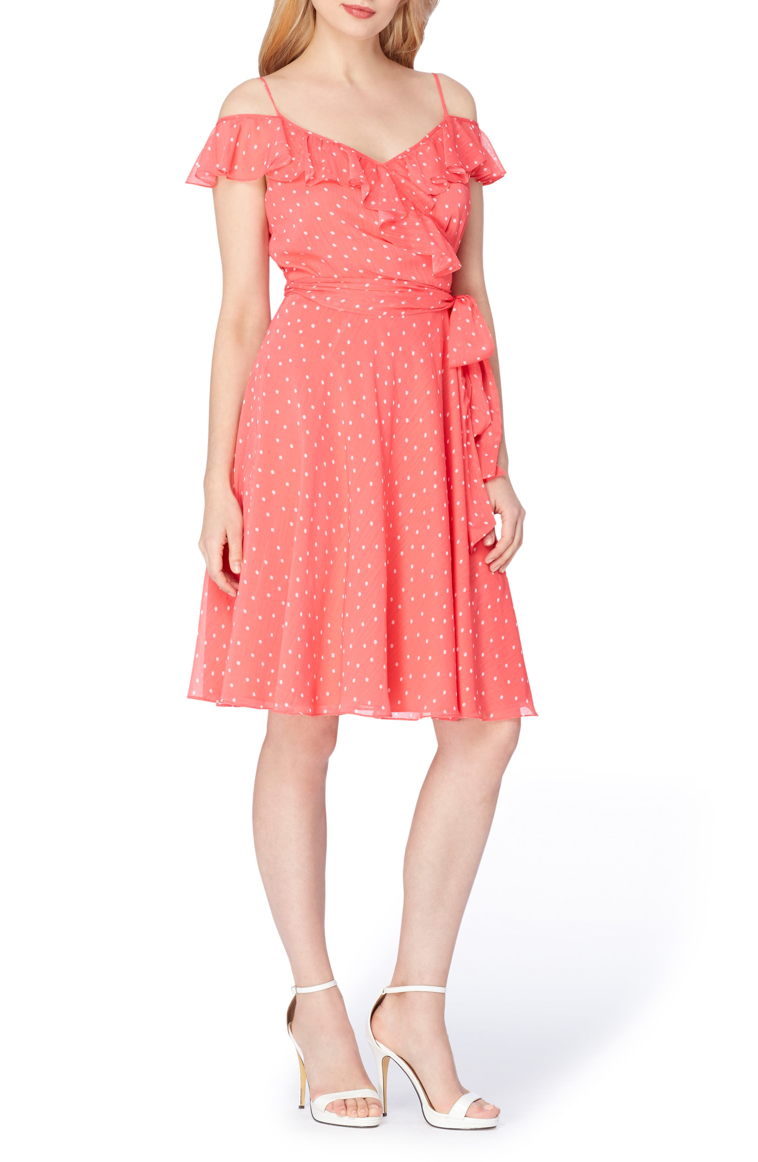 Tahari Cold Shoulder Fit & Flare Dress (Regular & Petite)