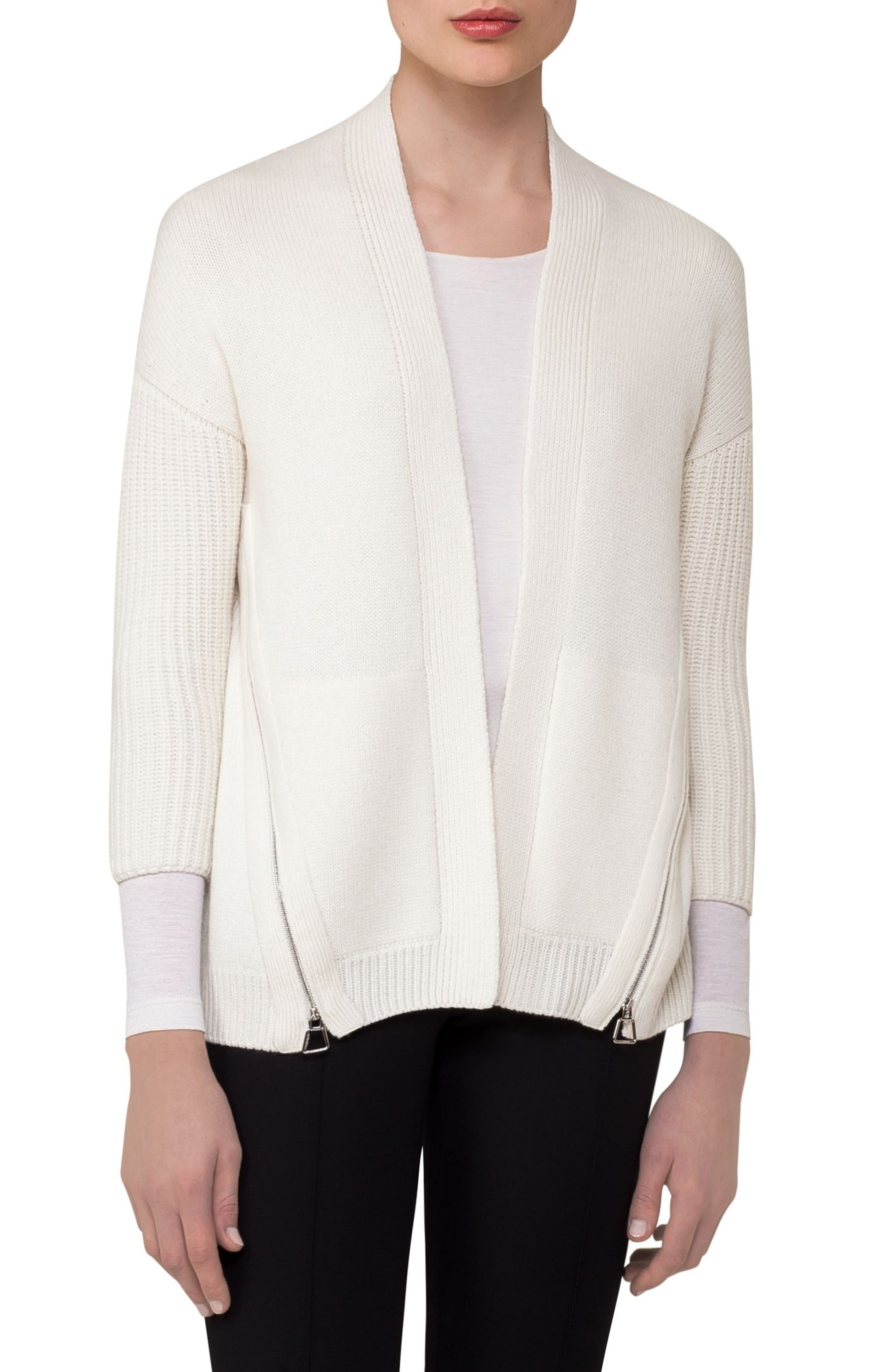Alternate Image 3  - Akris Zip Detail Drape Cashmere Cardigan