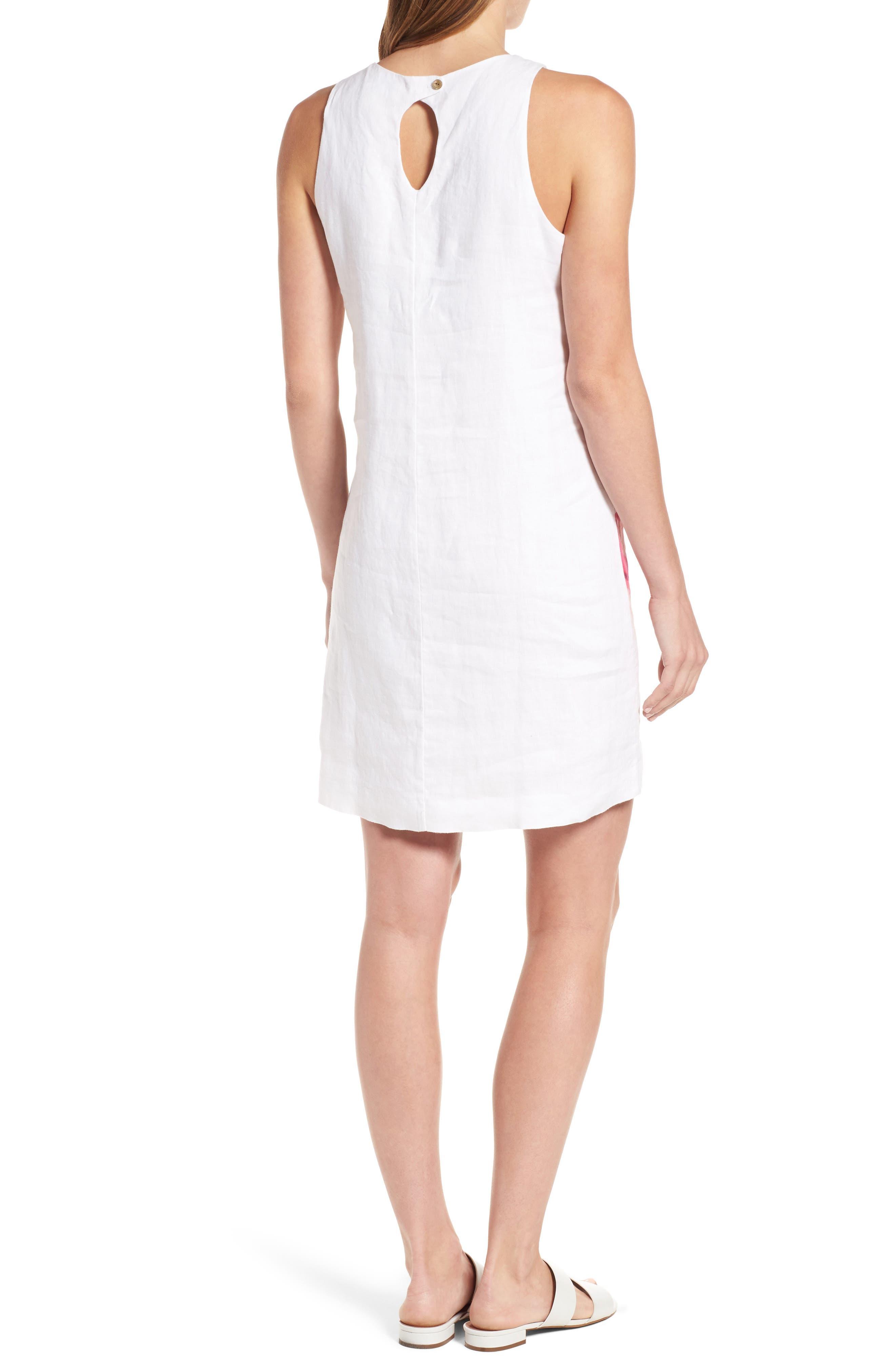 Kavala Blossoms Linen Shift Dress,                             Alternate thumbnail 2, color,                             White