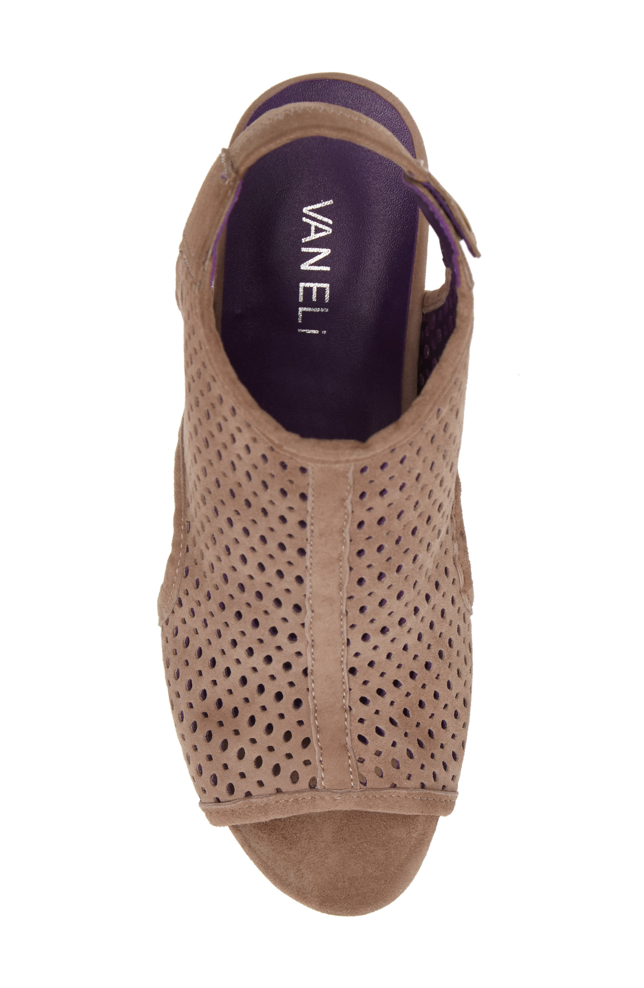 'Inez' Wedge Sandal,                             Alternate thumbnail 5, color,                             Truffle Suede