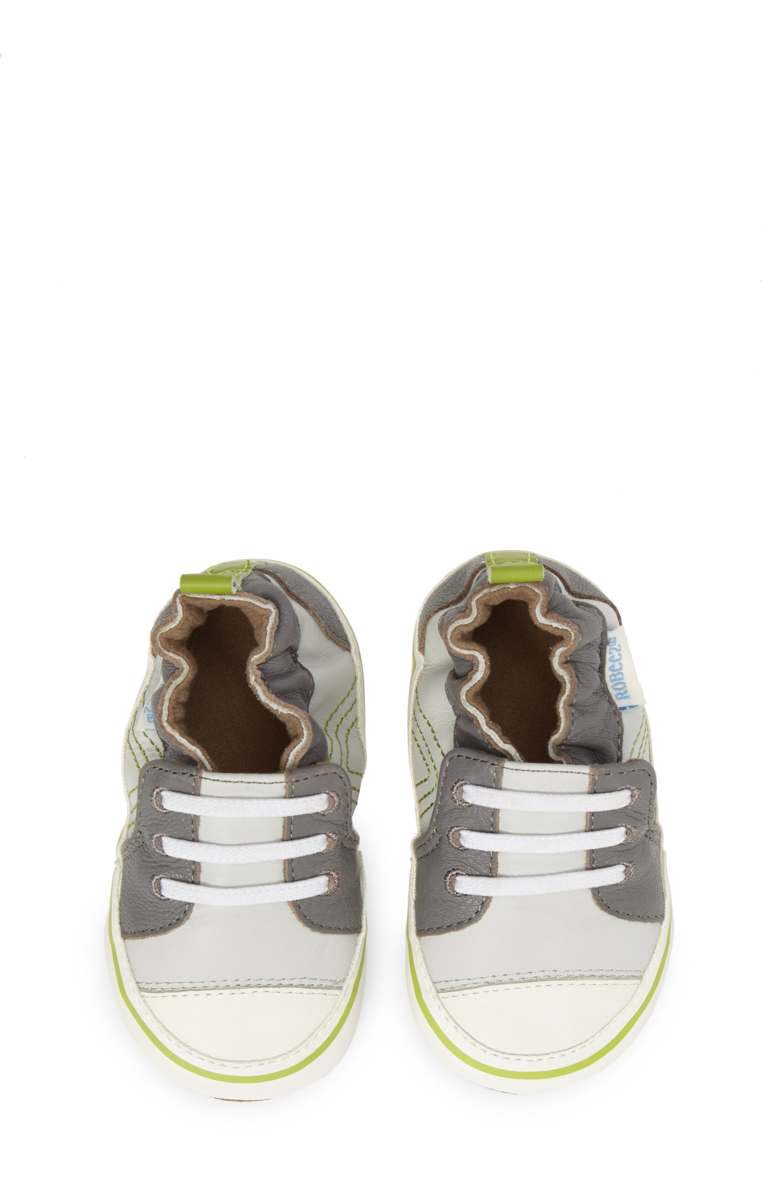 Trendy Trainer Sneaker Crib Shoe,                             Alternate thumbnail 5, color,                             Grey Leather