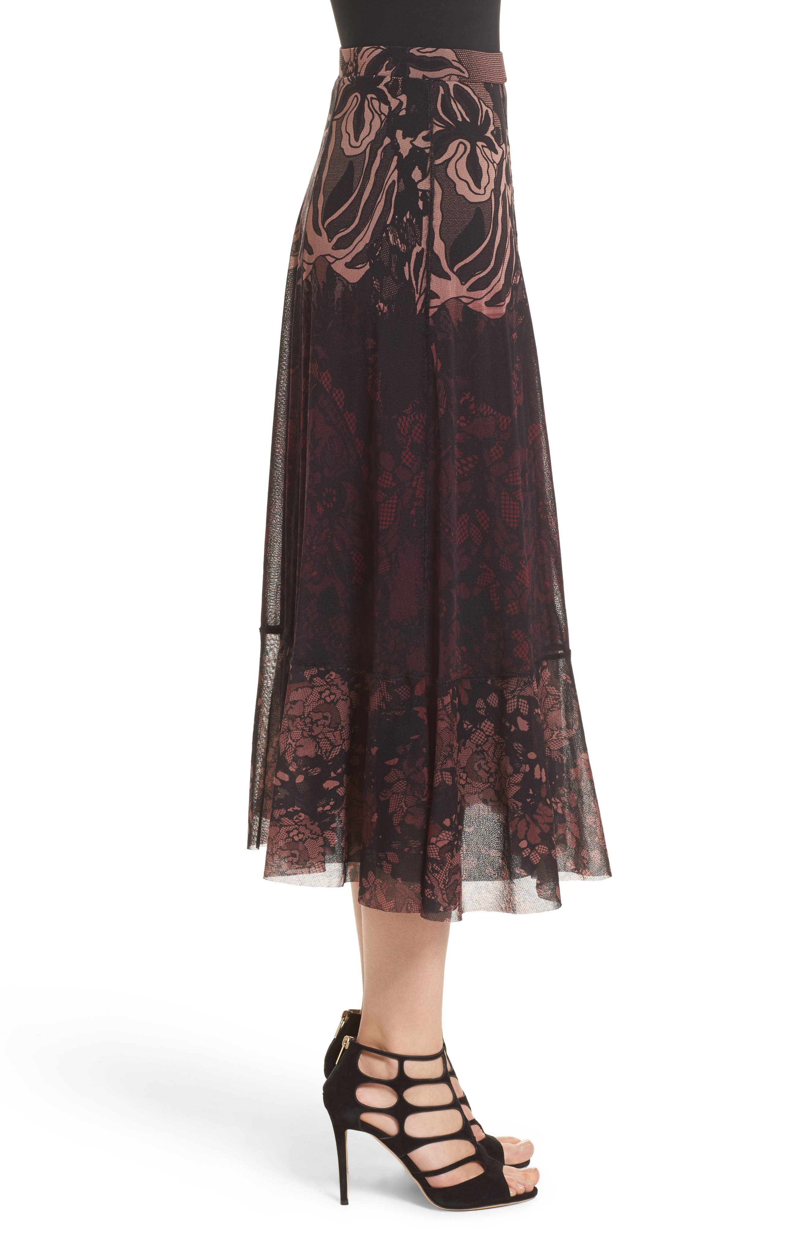 Tulle Midi Skirt,                             Alternate thumbnail 6, color,                             Plum