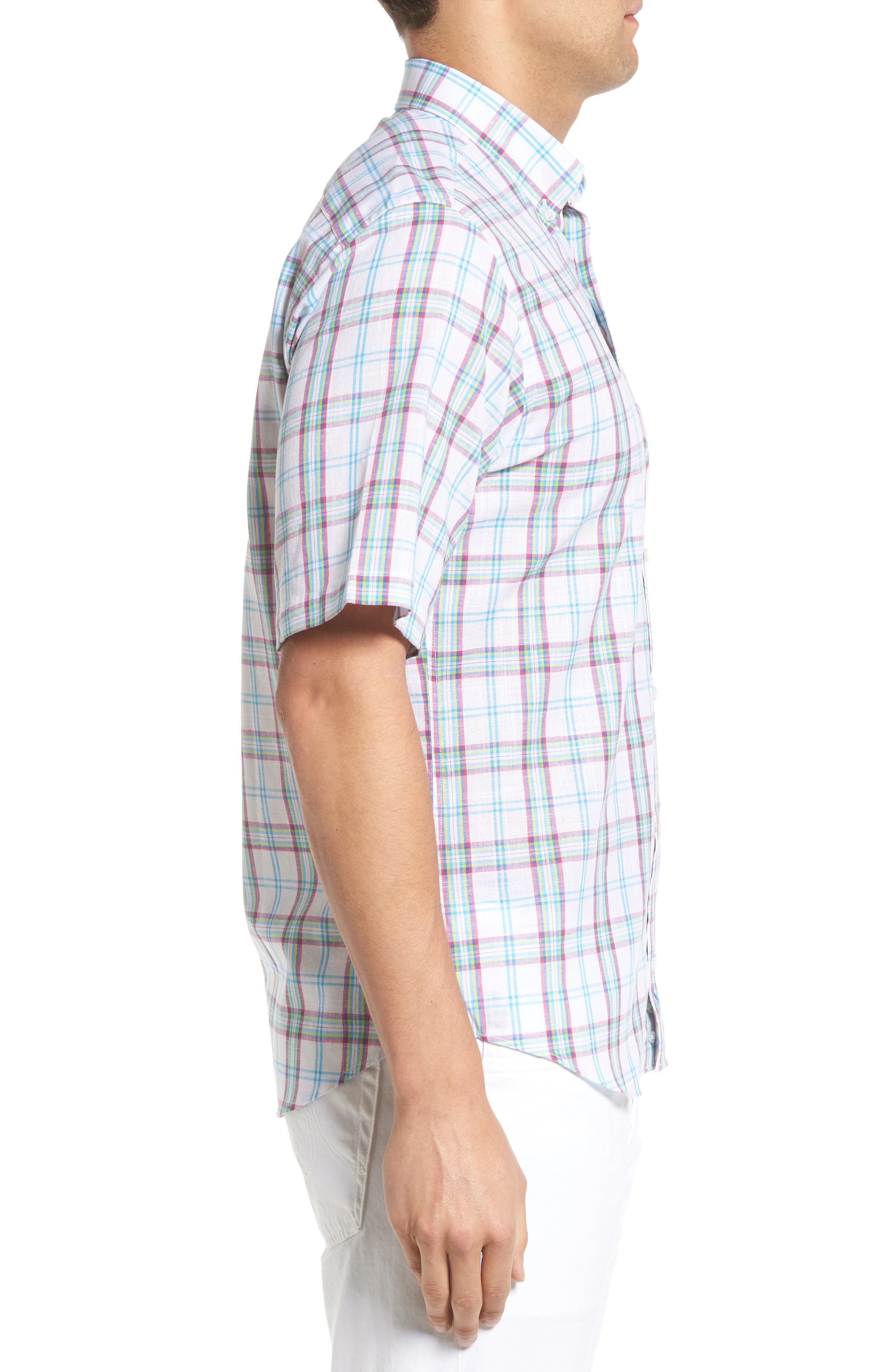 Alternate Image 3  - Tailorbyrd Monterey Regular Fit Short Sleeve Plaid Sport Shirt