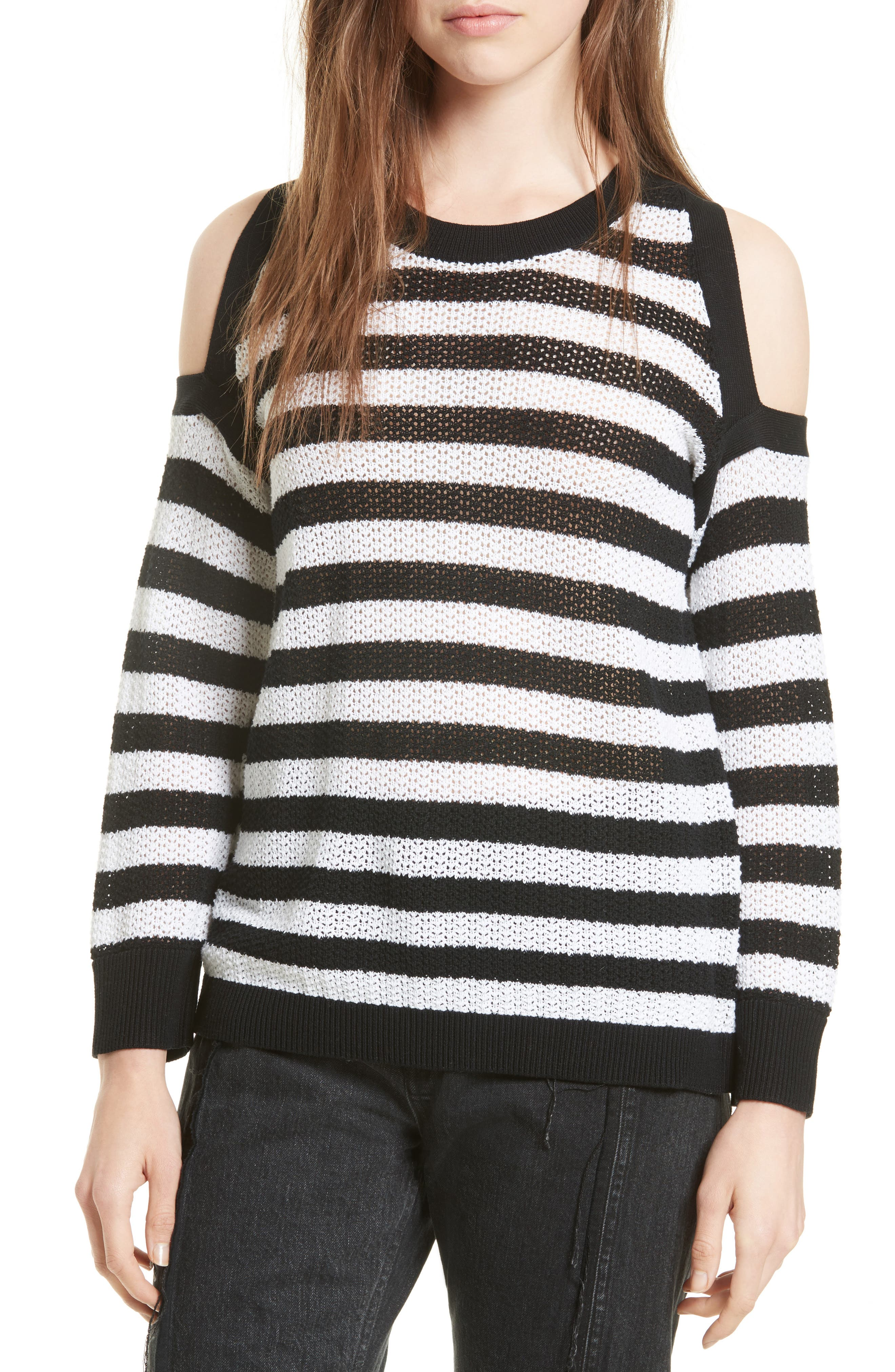Tracey Cold Shoulder Cotton Sweater,                             Main thumbnail 1, color,                             Black/ White