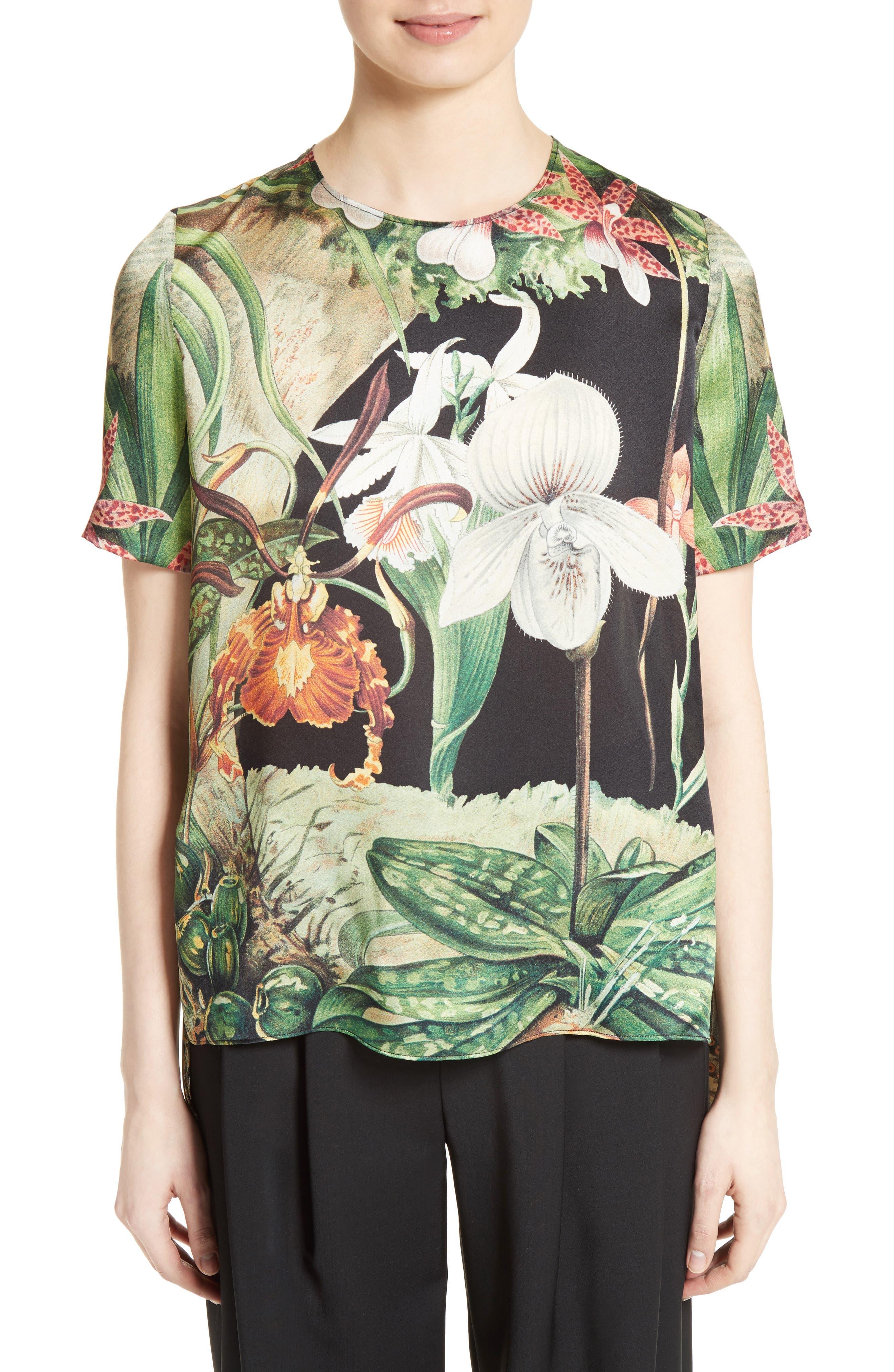 Print Silk Tee,                         Main,                         color, Black Orchid