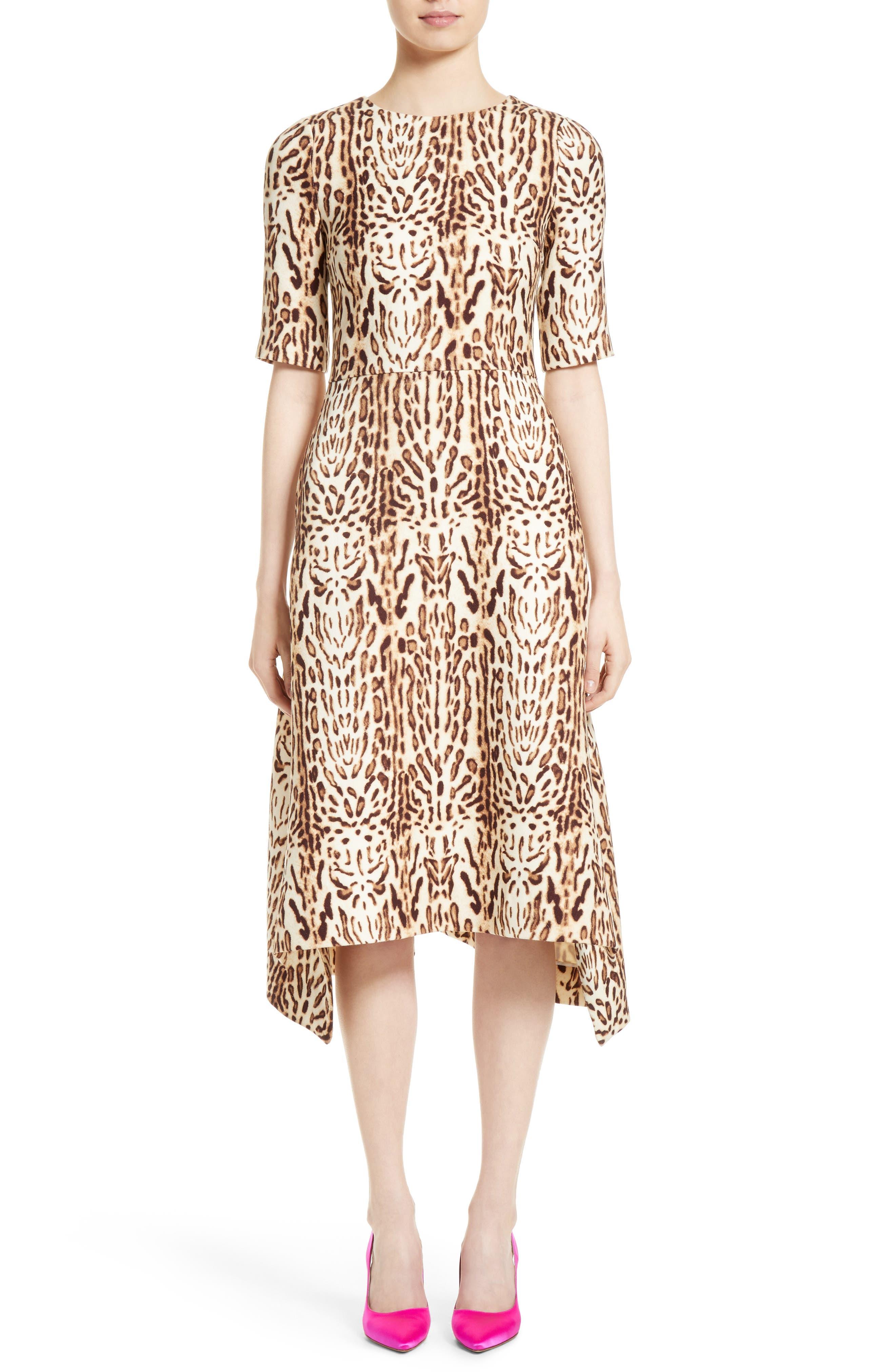 Adam Lippes Ocelot Print Wool Midi Dress