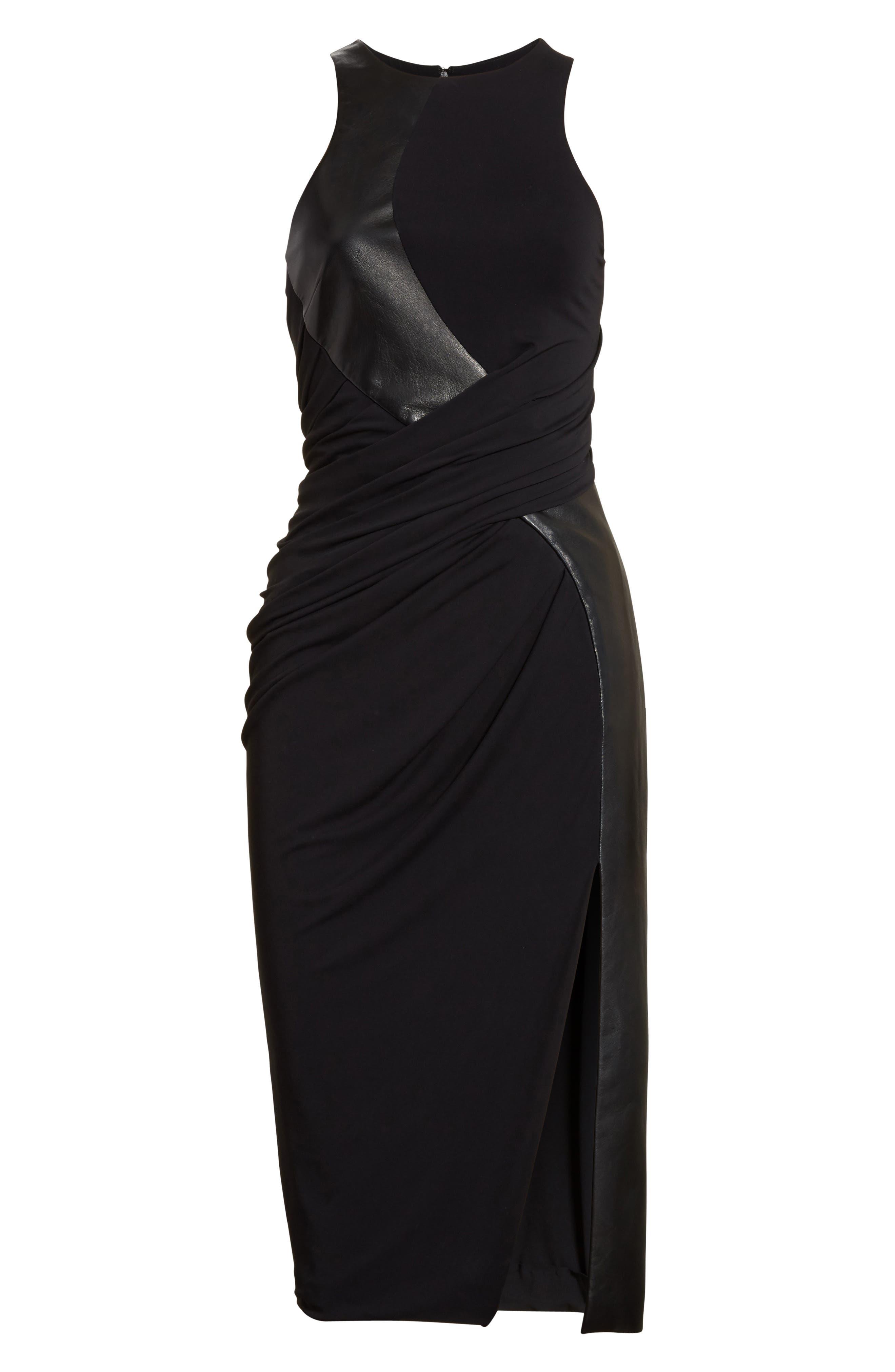 Draped Jersey & Leather Dress,                             Alternate thumbnail 4, color,                             Onyx