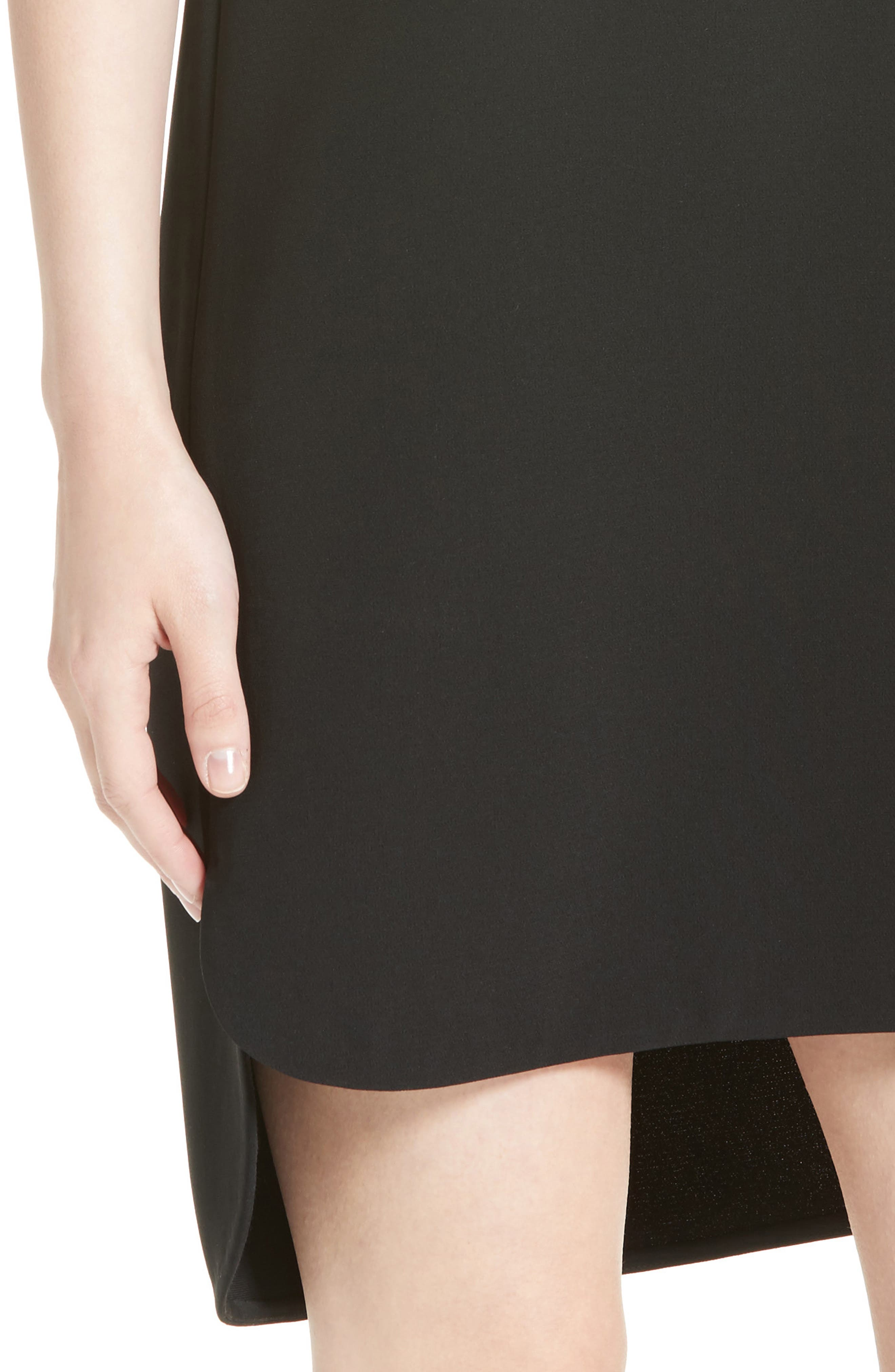 Crepe Shift Dress,                             Alternate thumbnail 6, color,                             Onyx