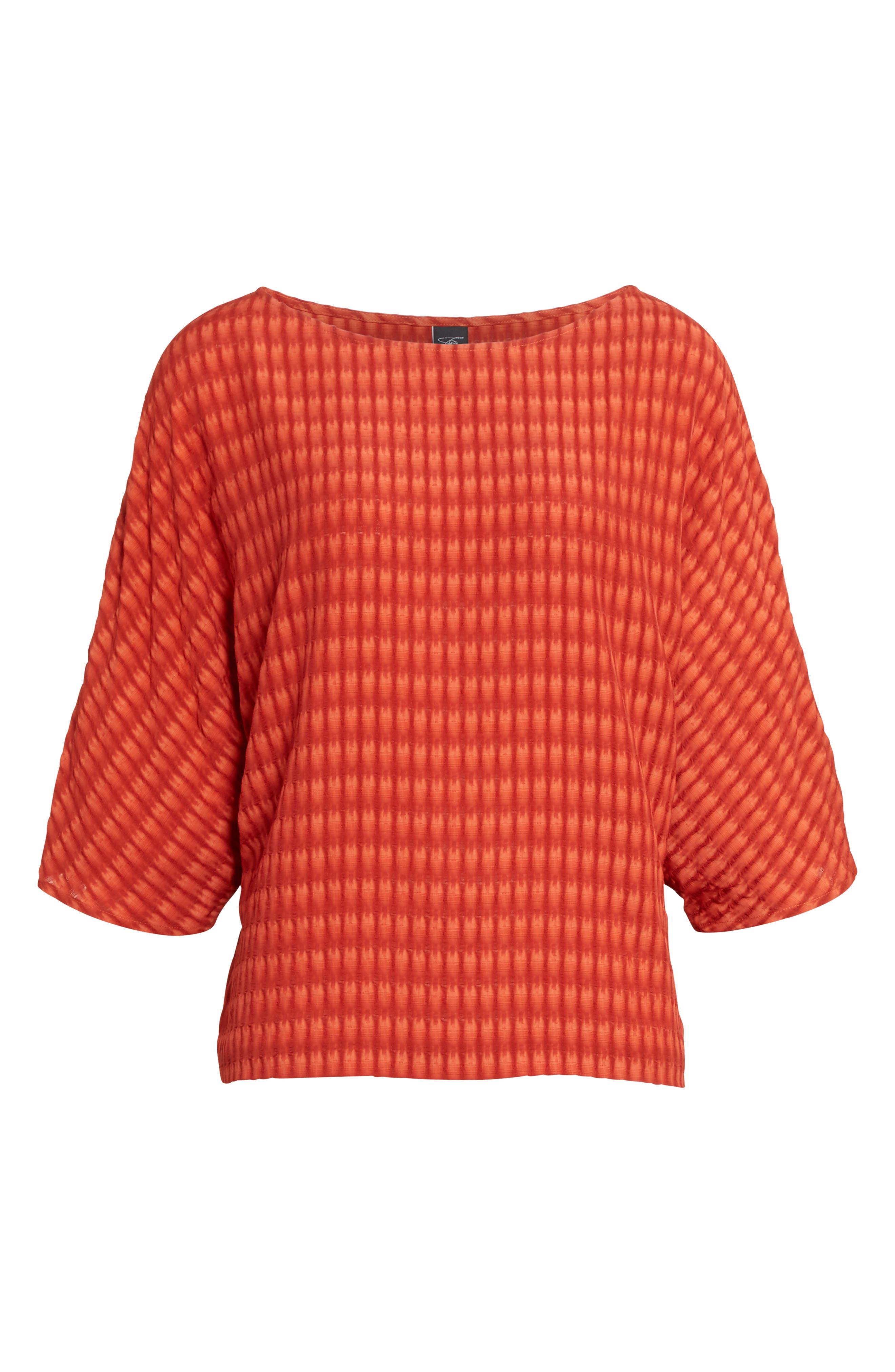 Vero Batik Plaid Top,                             Alternate thumbnail 4, color,                             Saffron Red