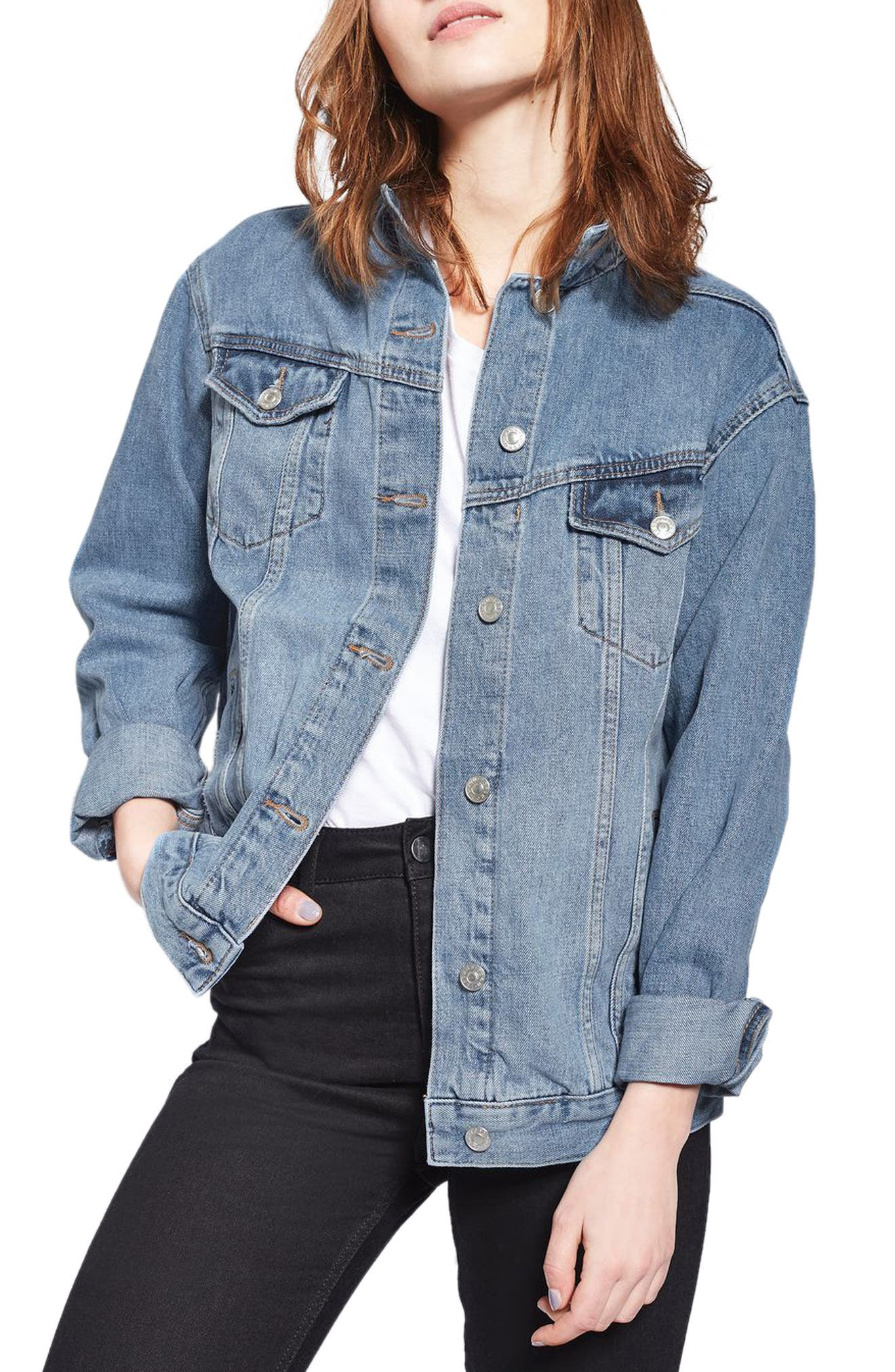 Oversize Denim Jacket,                             Main thumbnail 1, color,                             Mid Denim