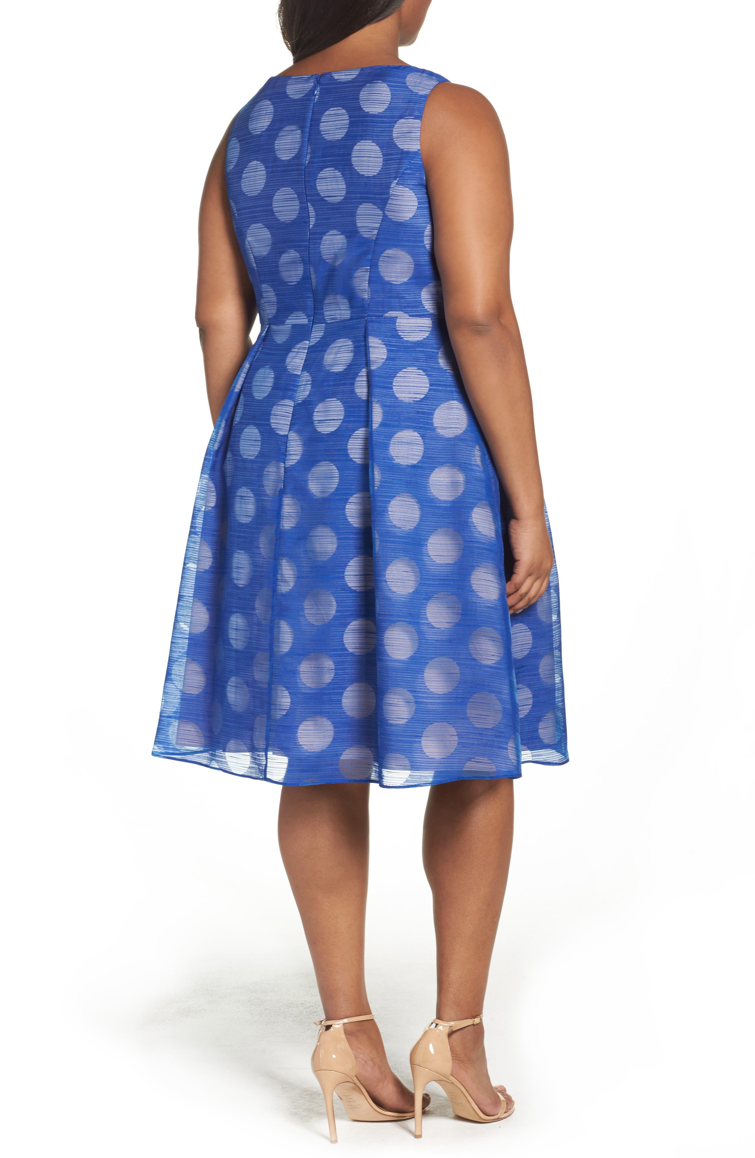 Pop Dot Burnout Fit & Flare Dress,                             Alternate thumbnail 2, color,                             Cobalt/ Blush