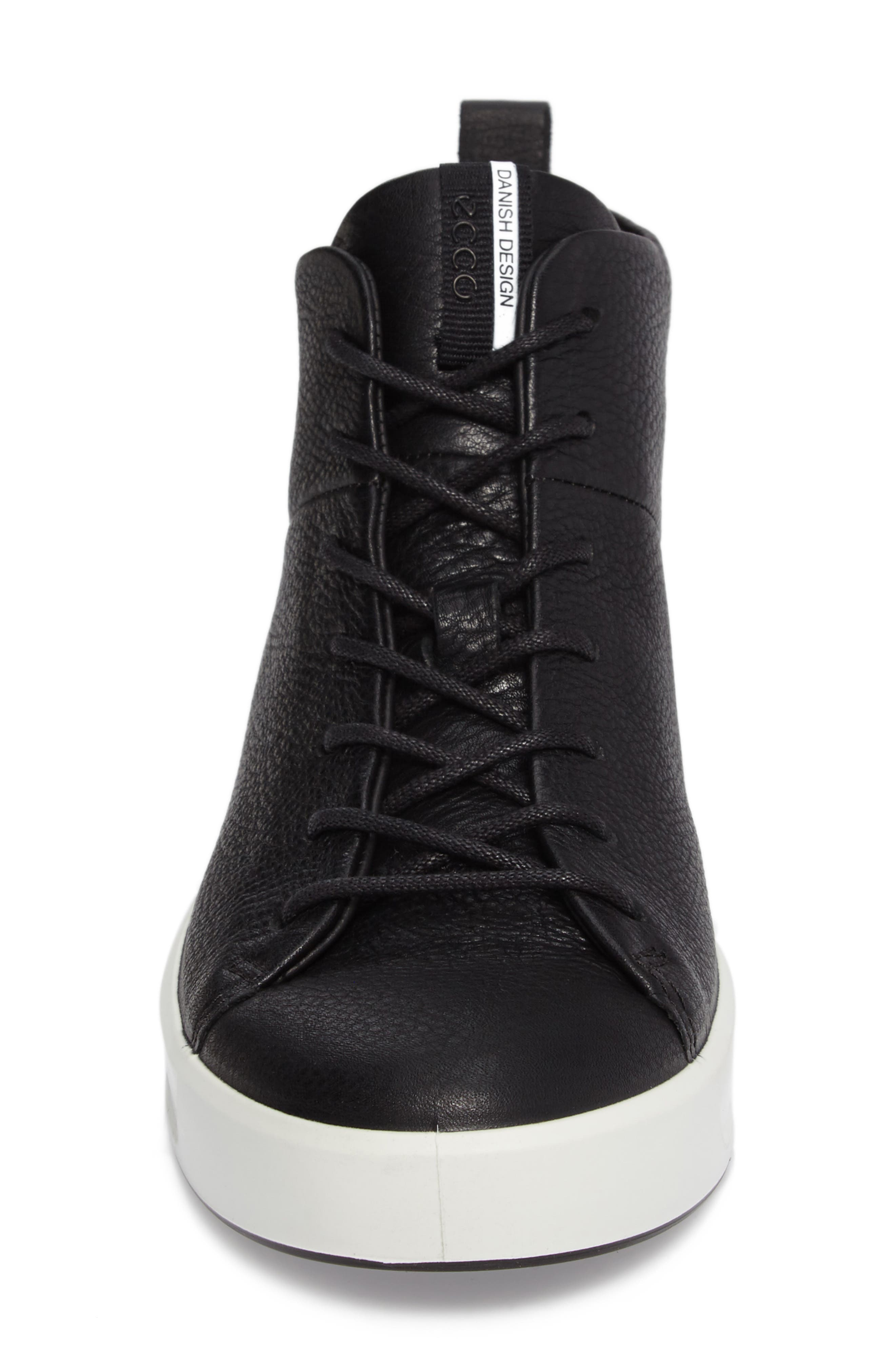Soft 8 High Top Sneaker,                             Alternate thumbnail 4, color,                             Black Leather