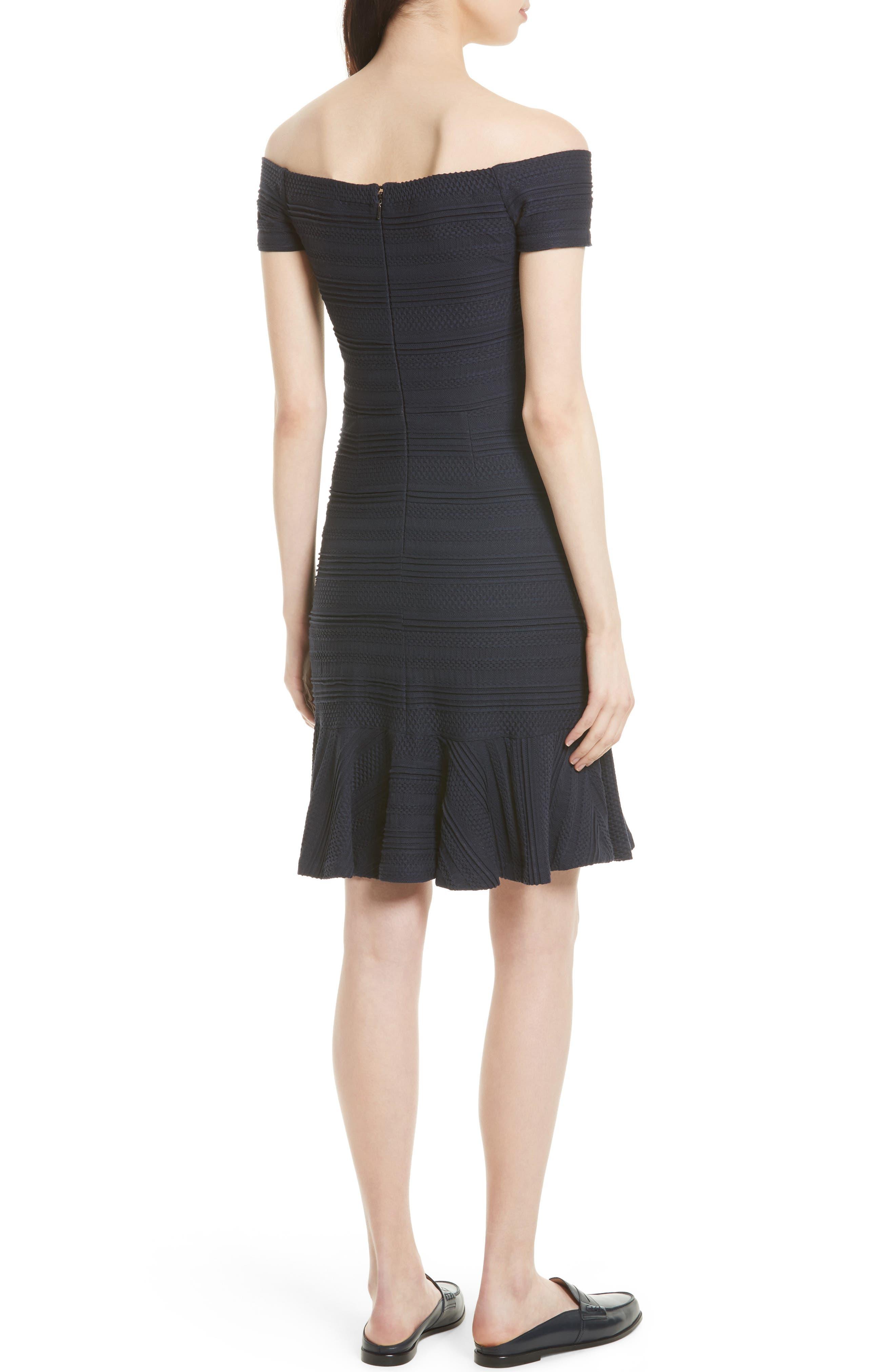 Off the Shoulder Textured Knit Dress,                             Alternate thumbnail 2, color,                             Navy