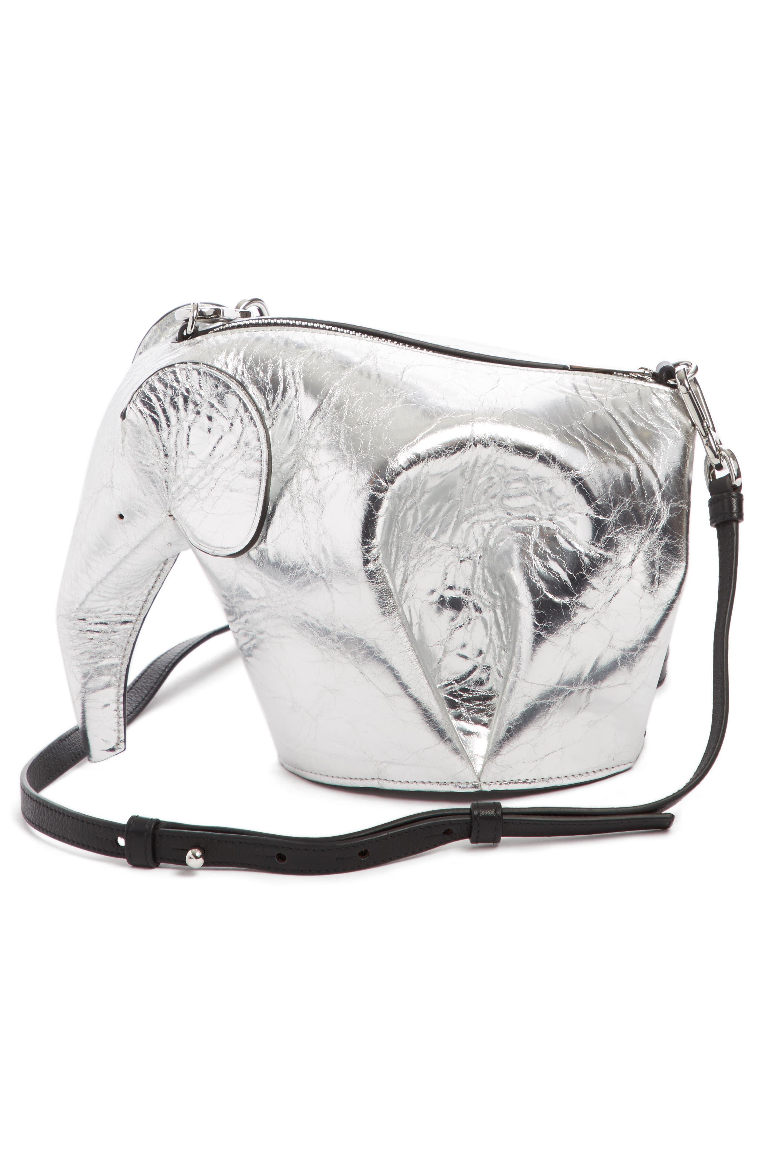 Mini Elephant Calfskin Leather Crossbody Bag,                             Alternate thumbnail 2, color,                             Silver