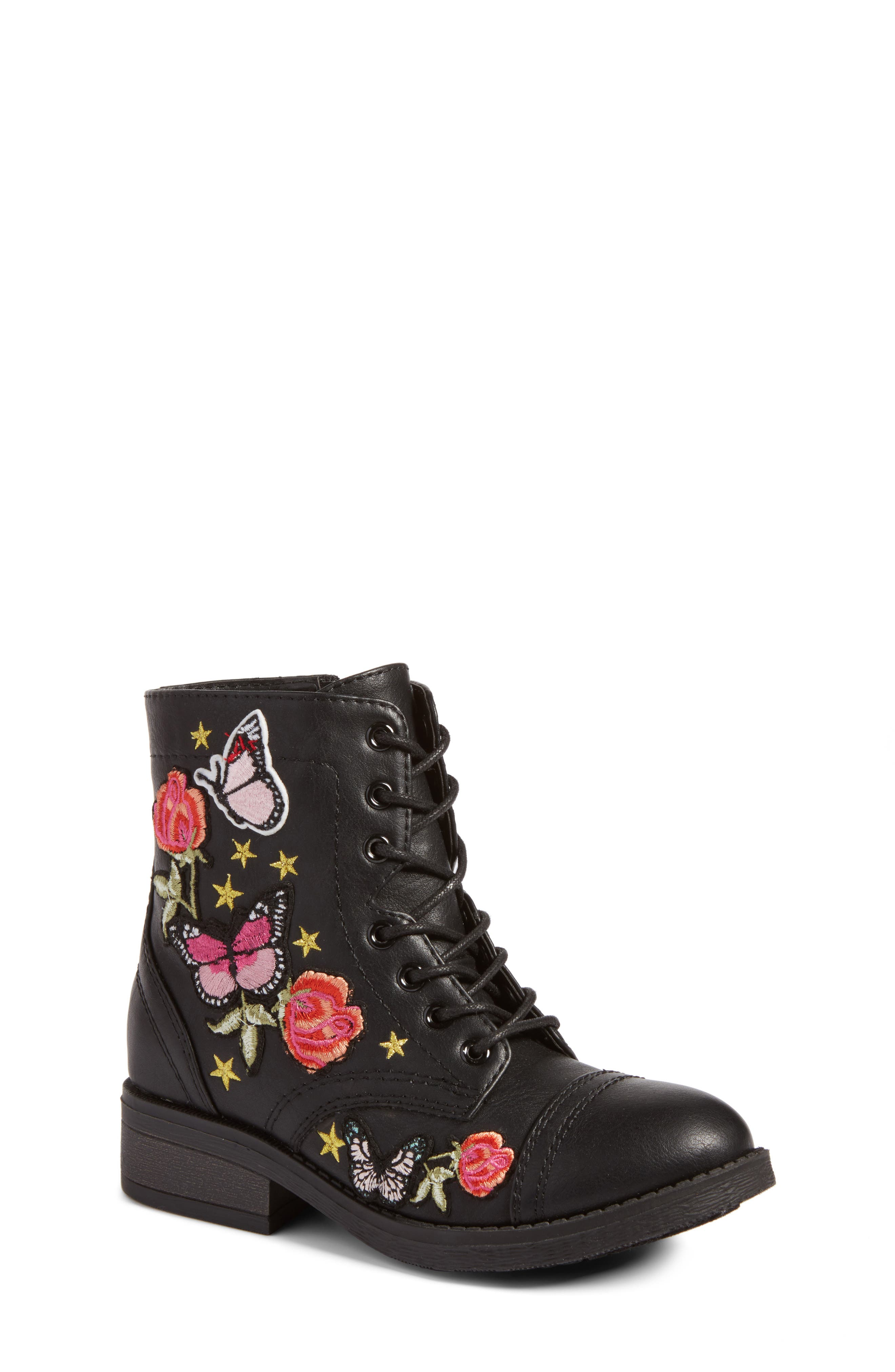 Roaring Embroidered Combat Boot,                         Main,                         color, Black Faux Leather