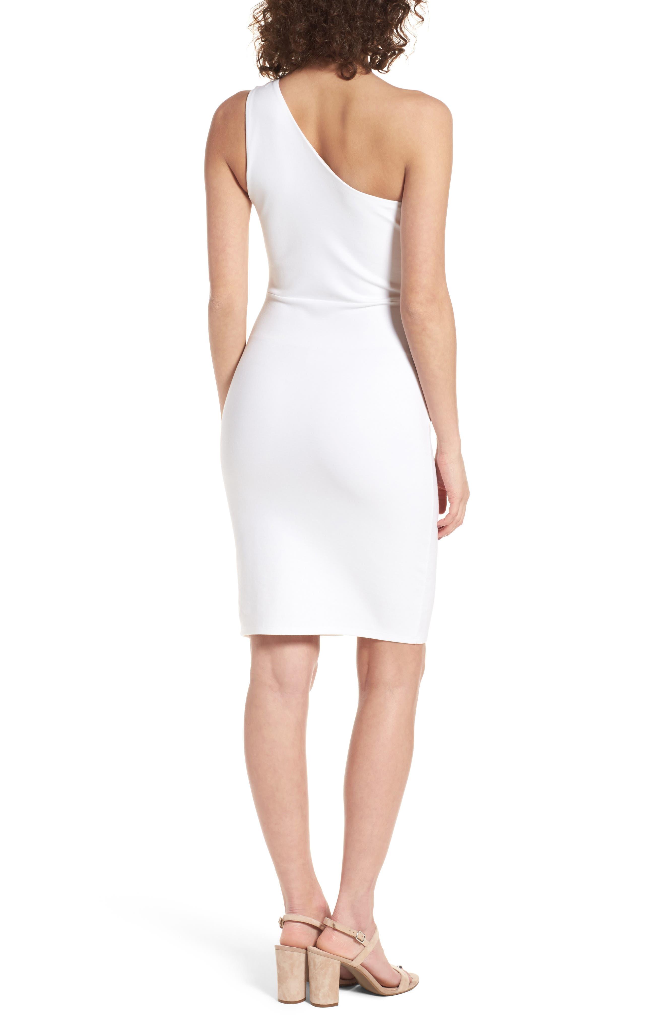 One-Shoulder Body-Con Minidress,                             Alternate thumbnail 2, color,                             Ivory