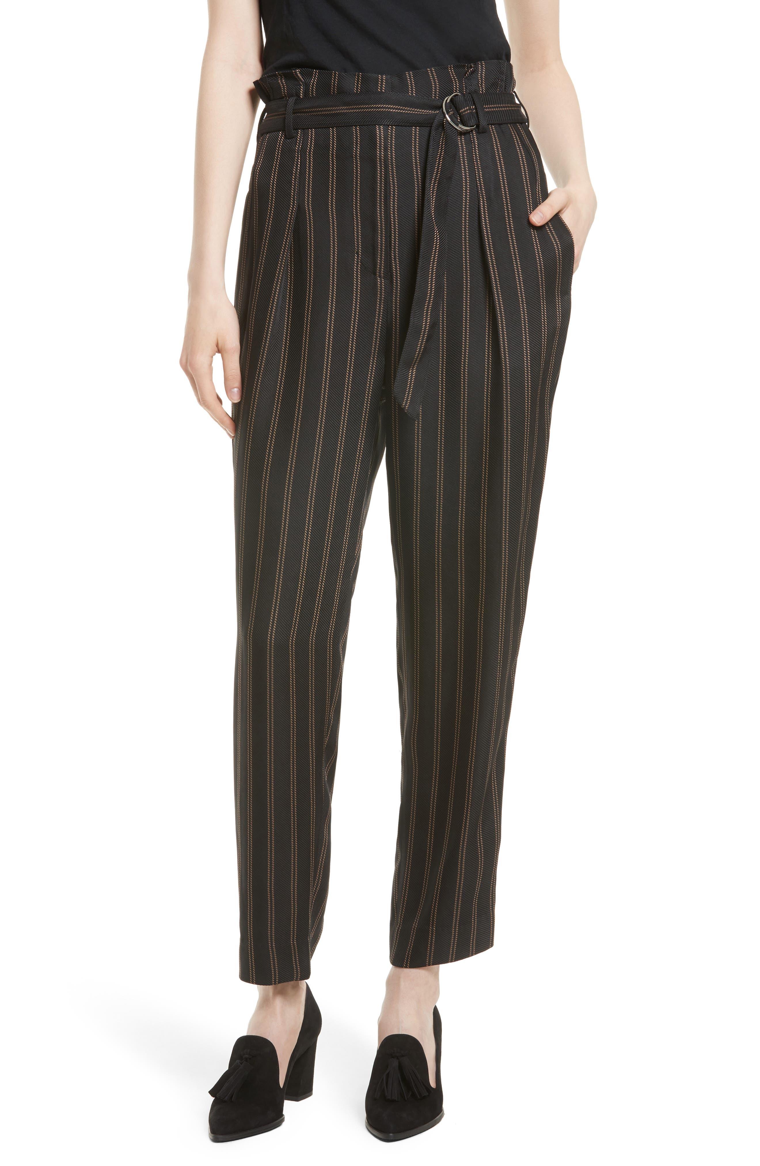Belted Pleat Crop Pants,                             Main thumbnail 1, color,                             Black/ Tan