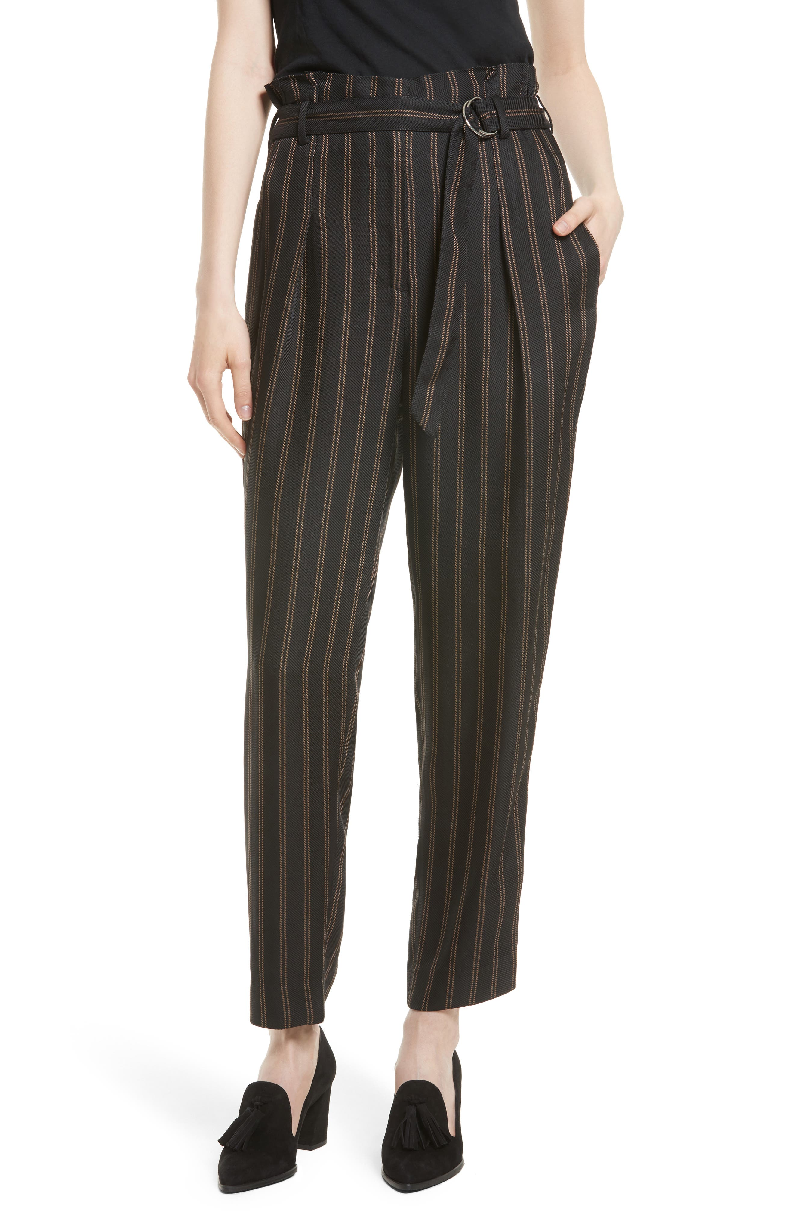 Belted Pleat Crop Pants,                         Main,                         color, Black/ Tan