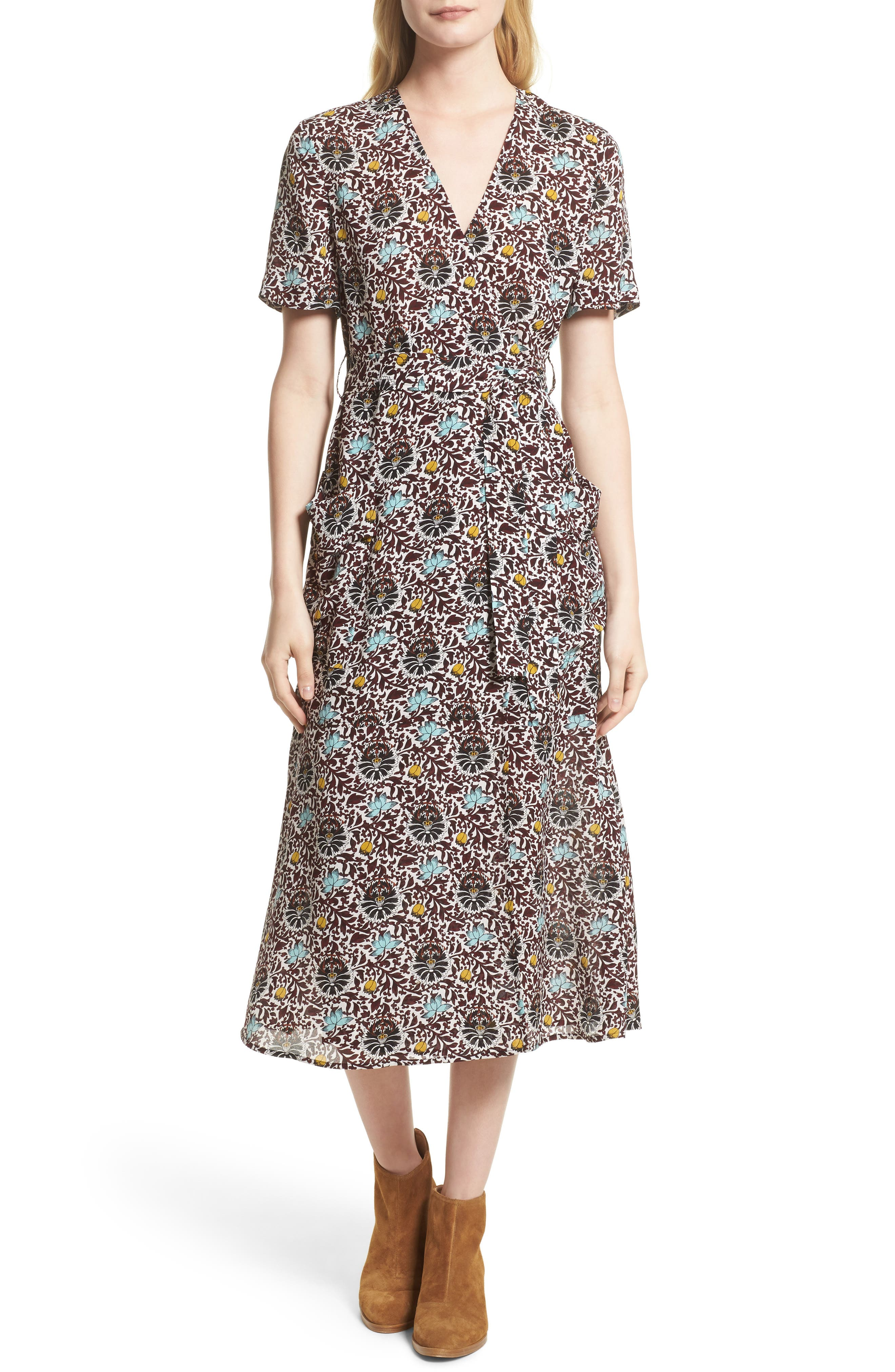 A.L.C. Stephanie Print Silk Wrap Dress