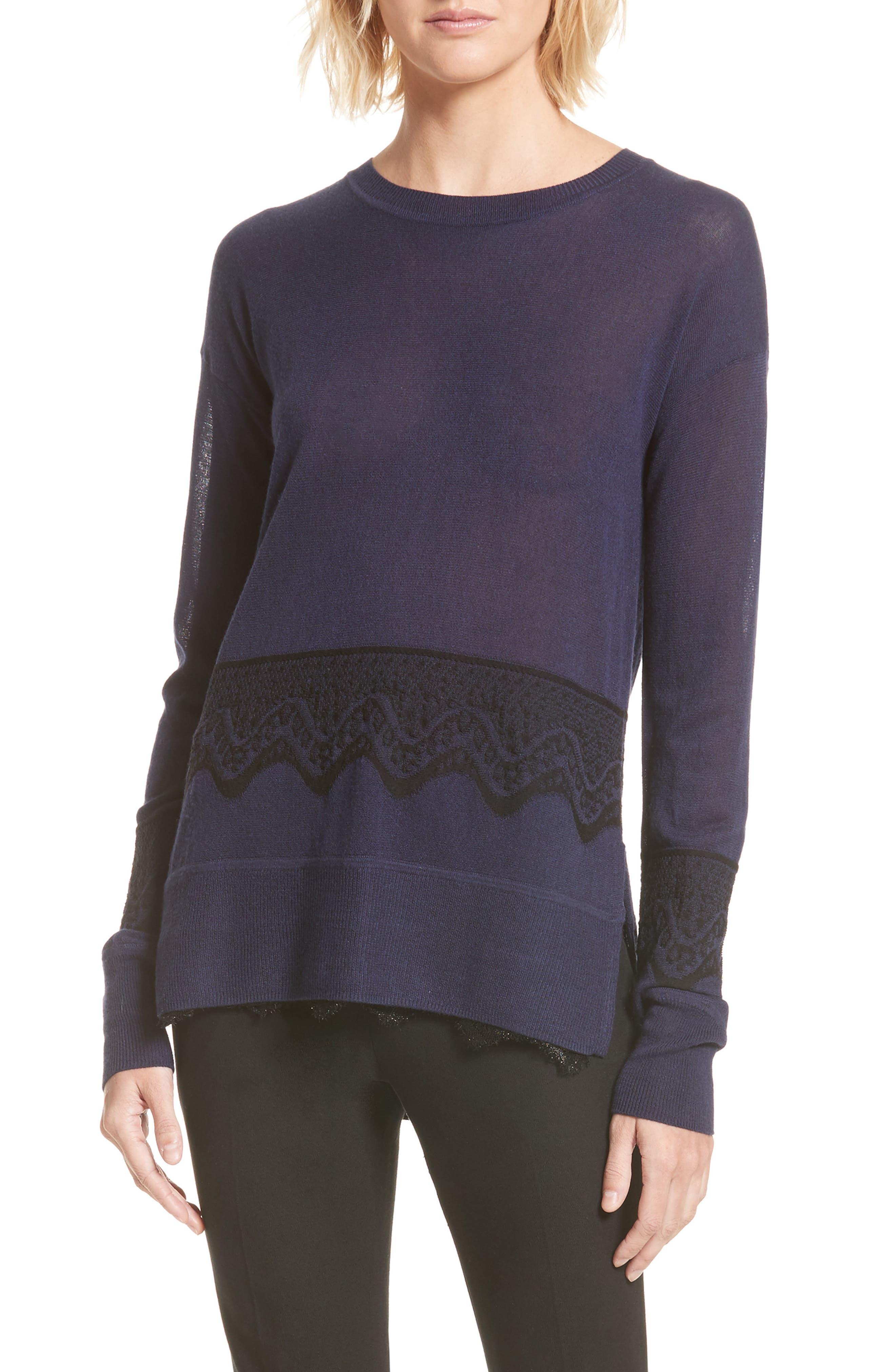 Lace Hem Silk & Cashmere Pullover,                         Main,                         color, Midnight/ Black