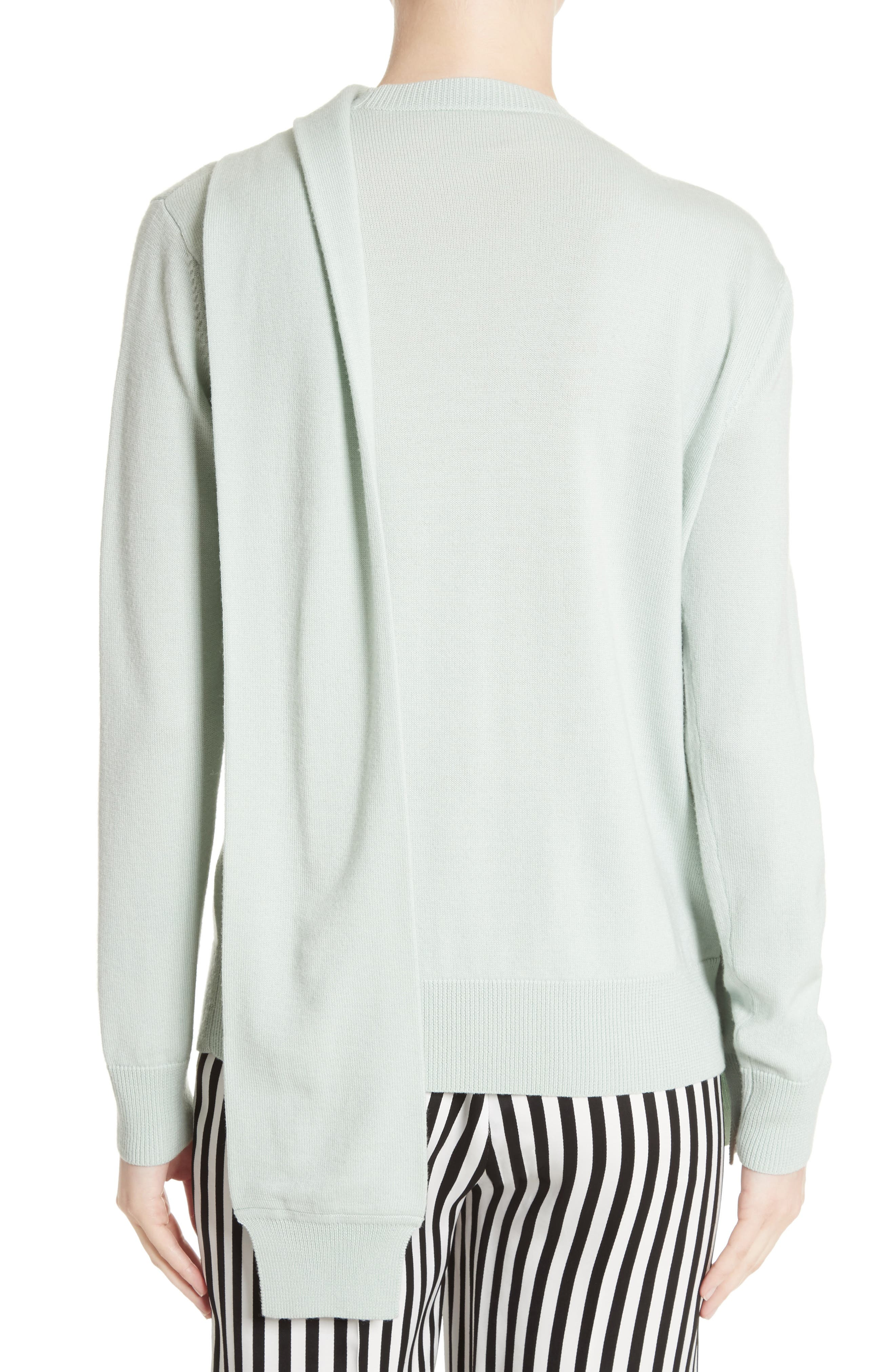 Wrap Neck Merino Wool Sweater,                             Alternate thumbnail 2, color,                             Mint