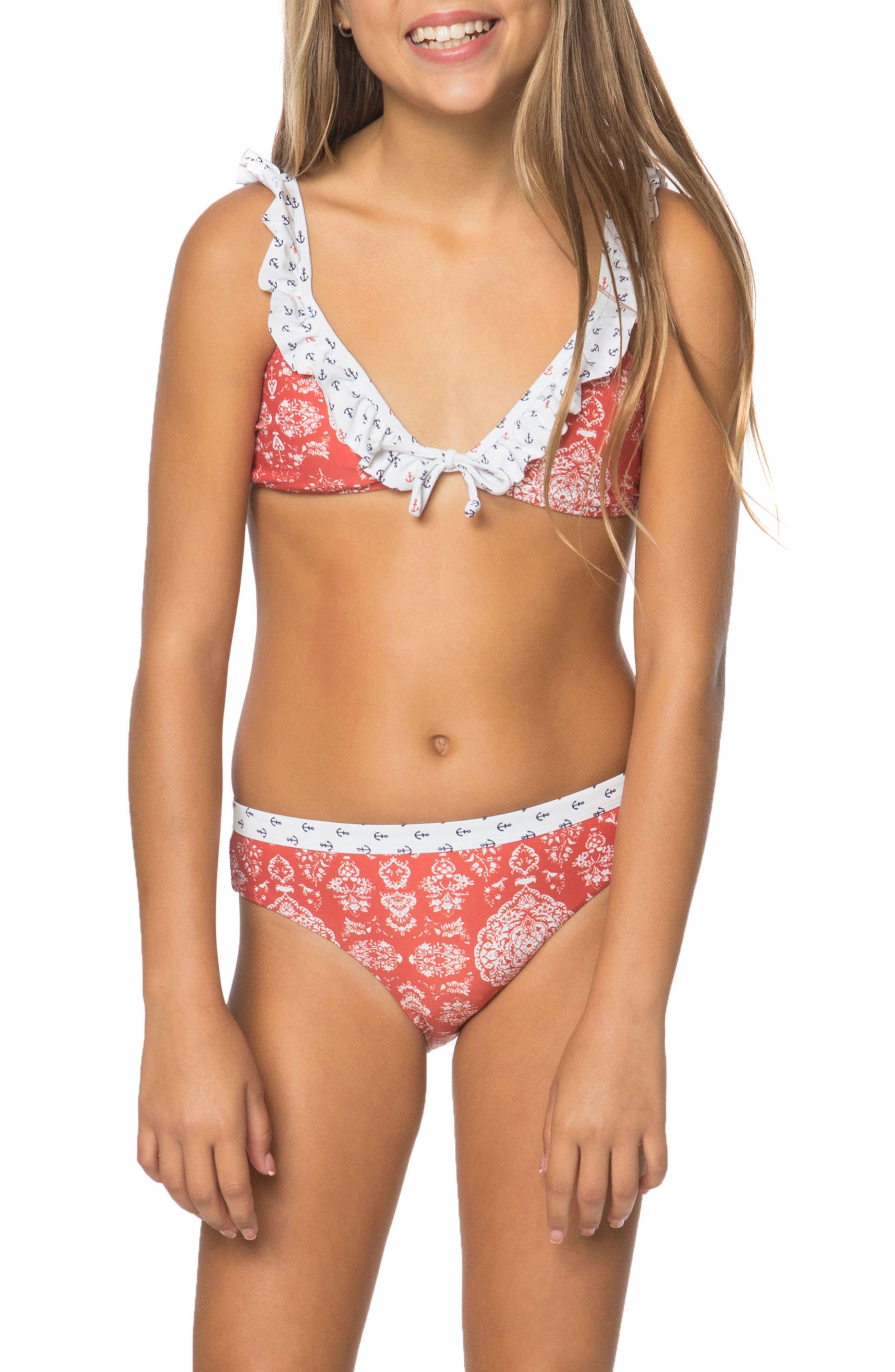 Main Image - O'Neill Fiona Ruffle Bikini Top (Big Girls)