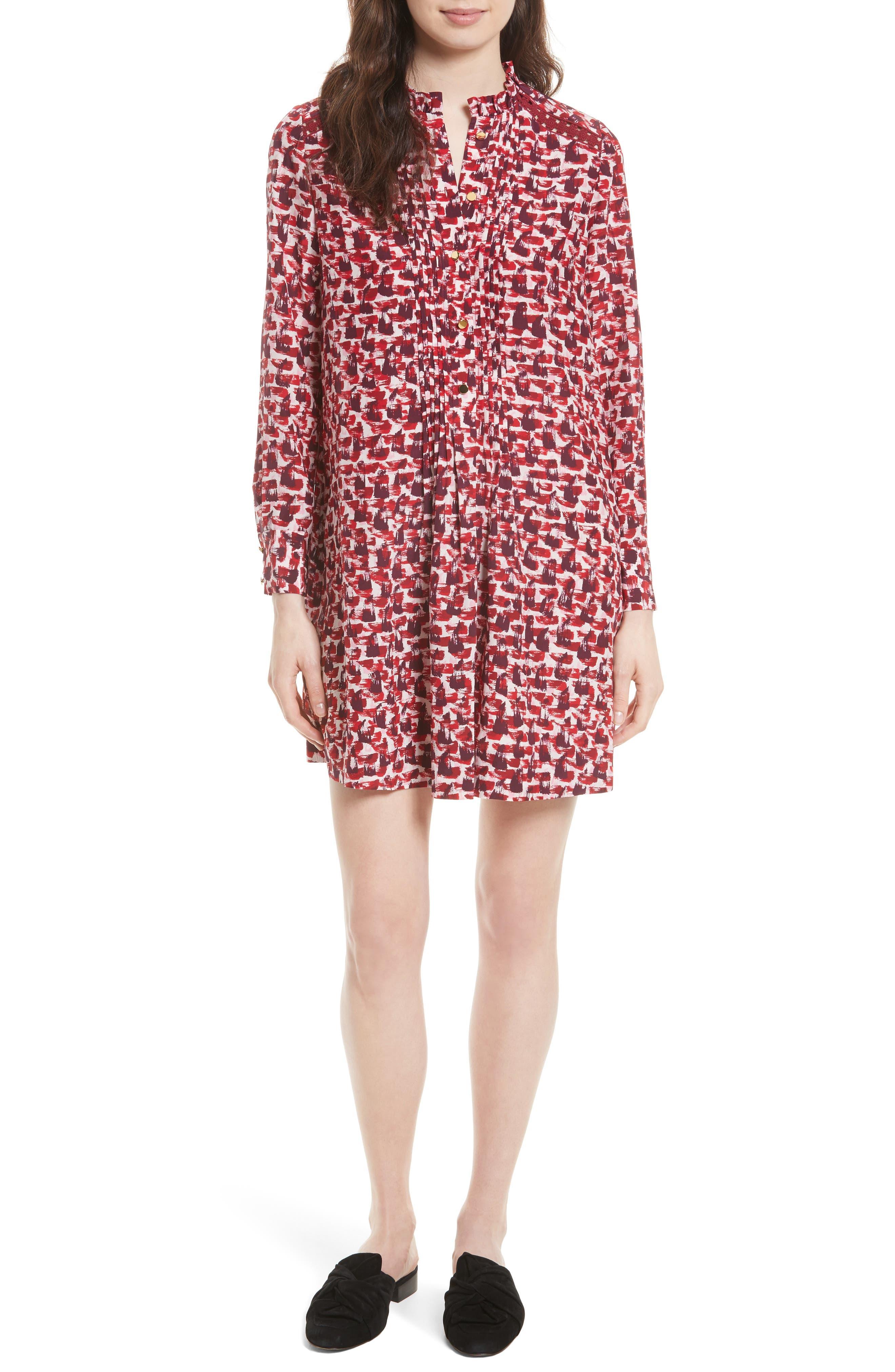 Main Image - kate spade new york print brushed silk swing dress