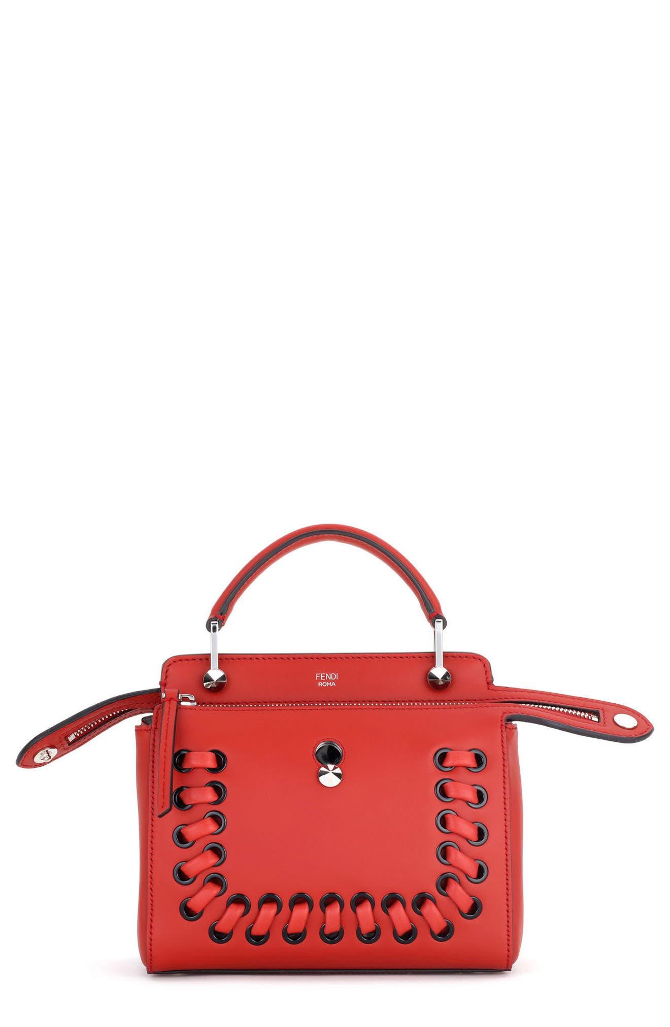 FENDI Dotcom Click Lace-Up Leather Satchel