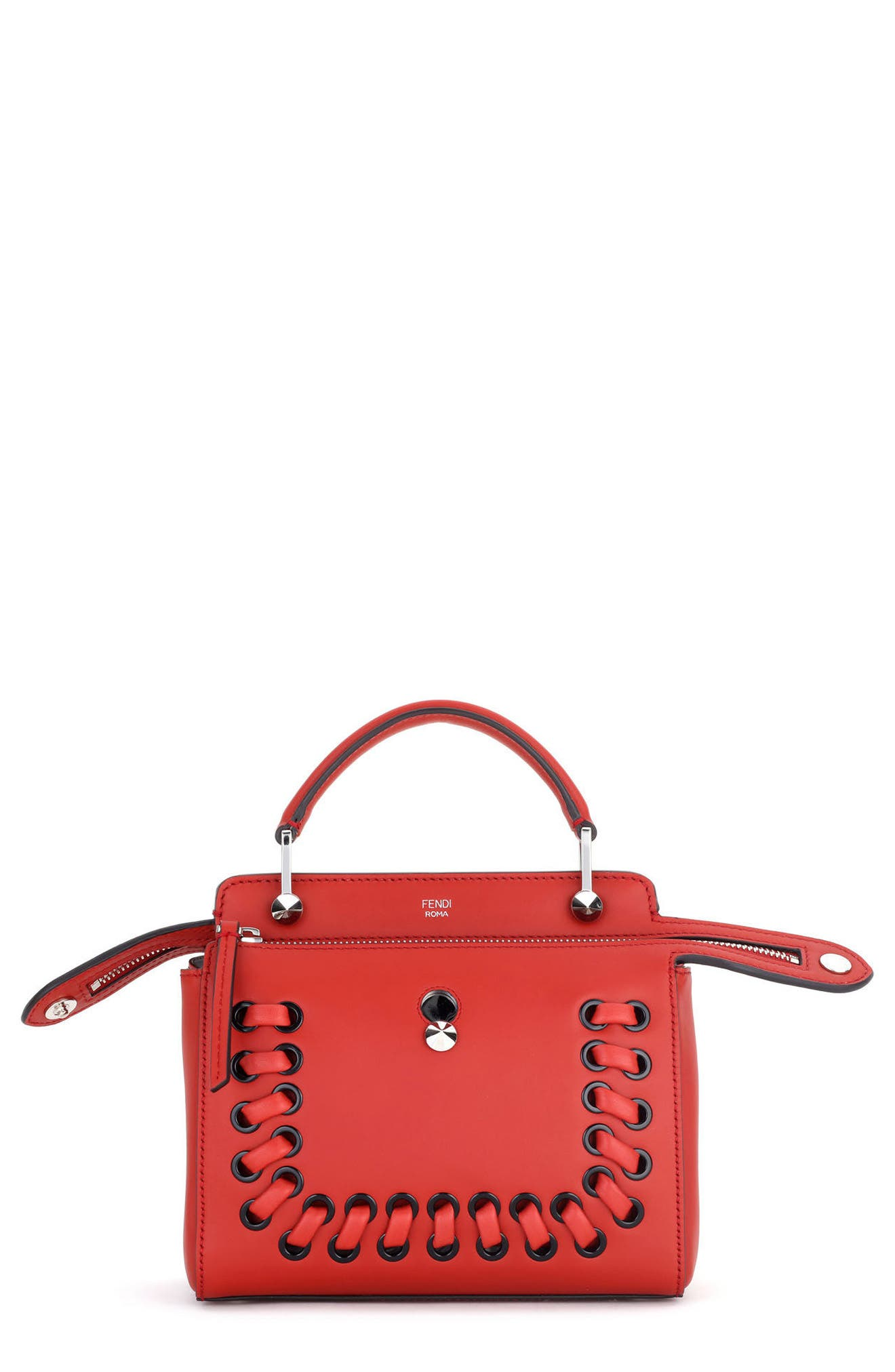Dotcom Click Lace-Up Leather Satchel,                             Main thumbnail 1, color,                             Bloody Mary