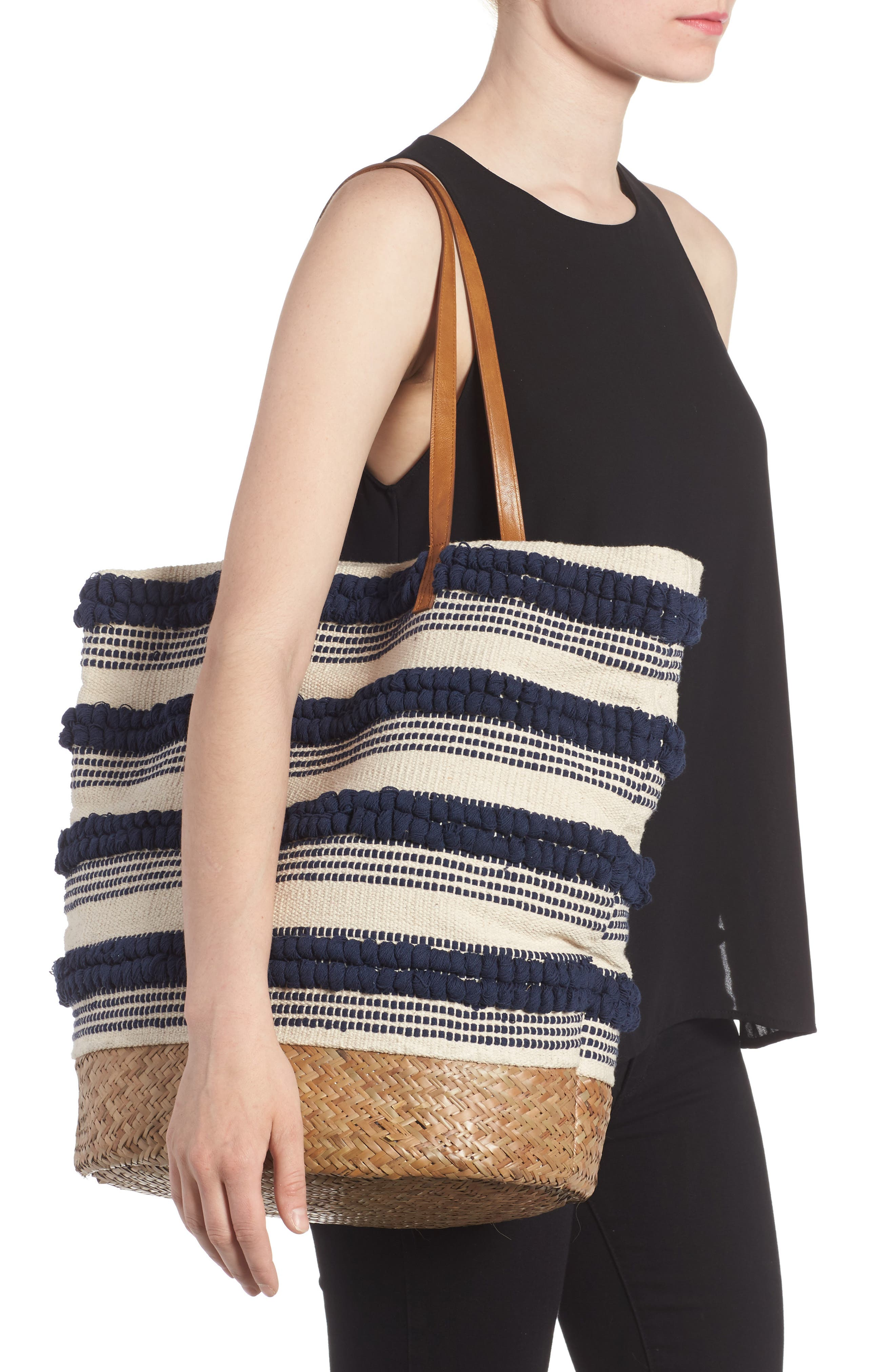 Alternate Image 6  - Sole Society Woven Bottom Tote