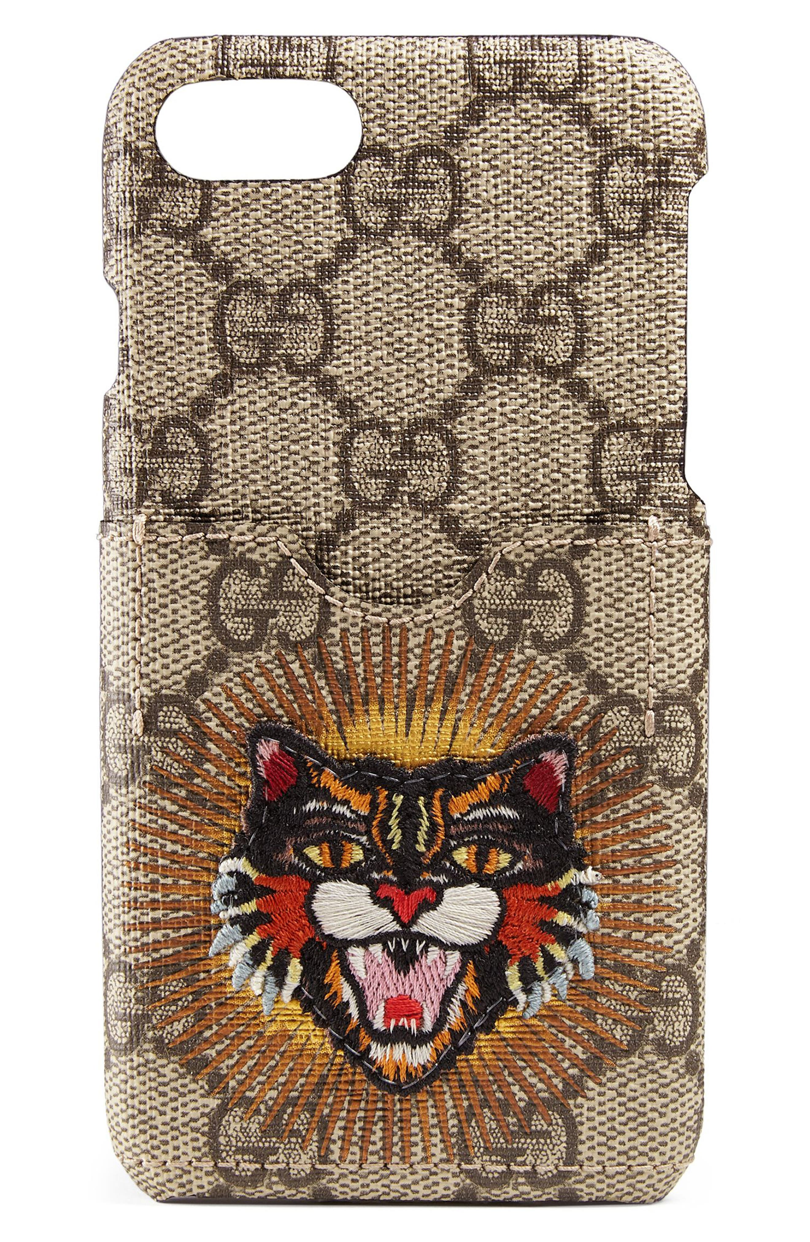 Embroidered Angry Cat GG Supreme iPhone 7 Case,                         Main,                         color, Beige Ebony/Multi