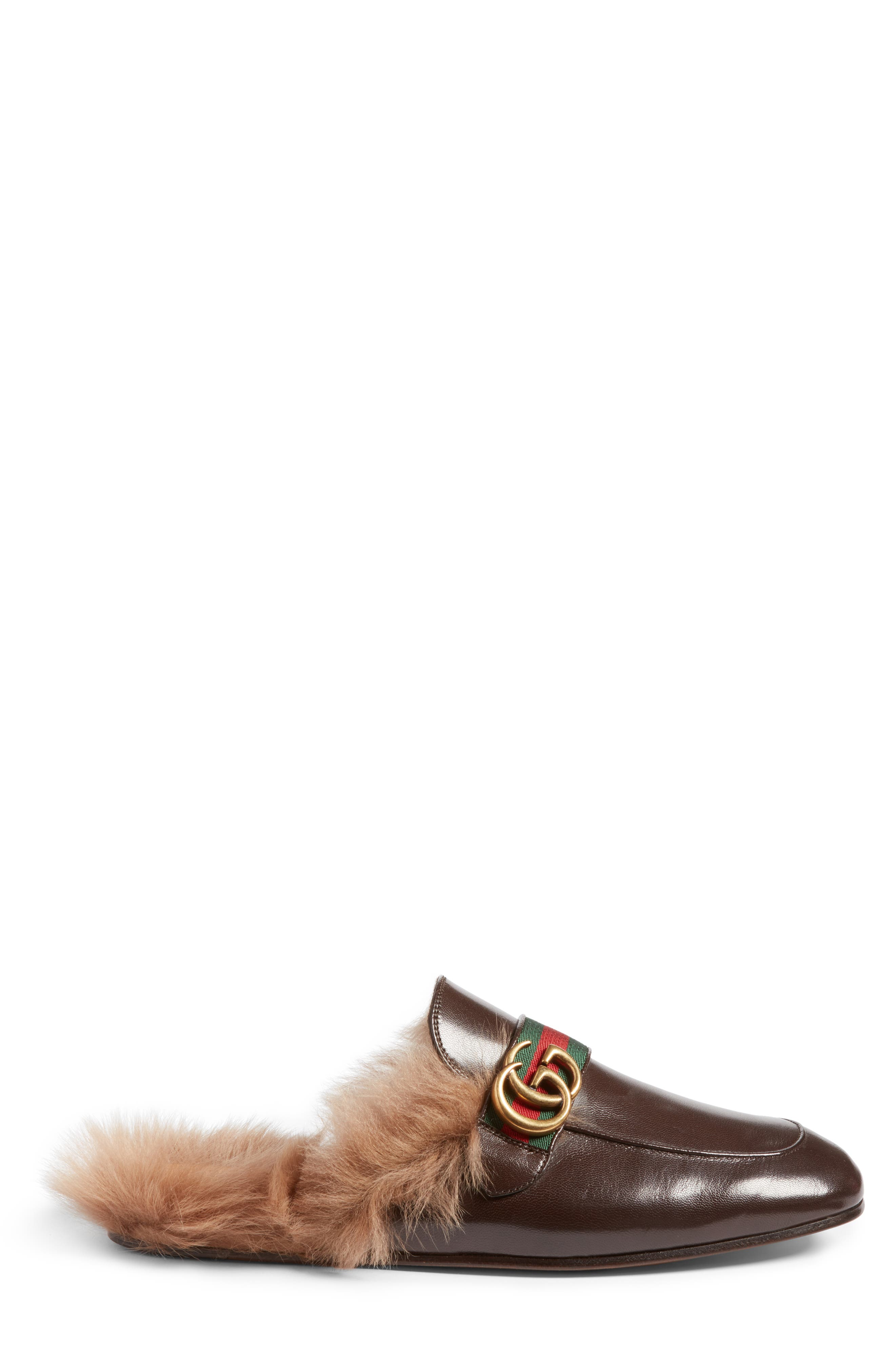 New Princetown Genuine Shearling Mule,                             Alternate thumbnail 3, color,                             Brown