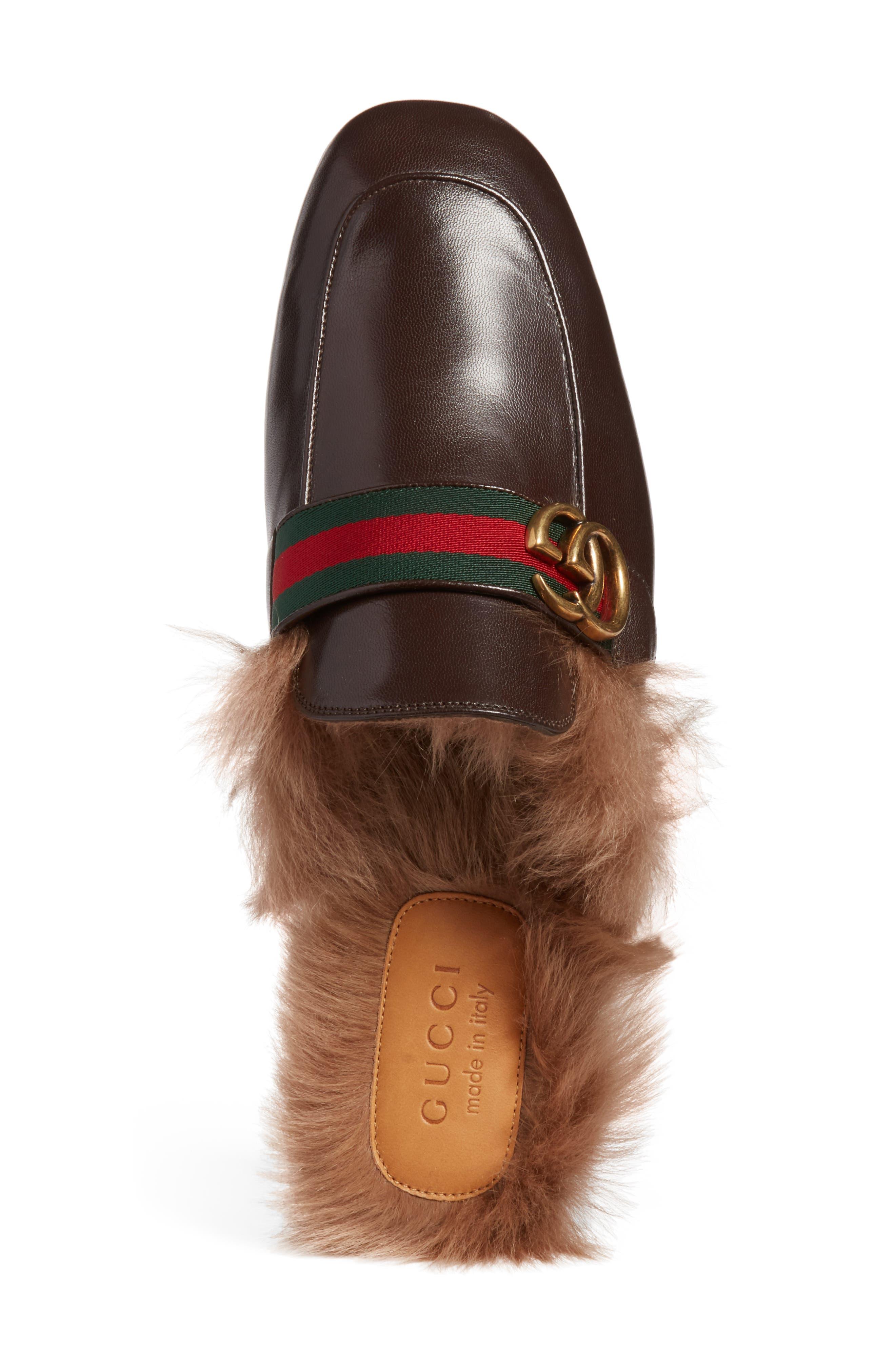 New Princetown Genuine Shearling Mule,                             Alternate thumbnail 5, color,                             Brown