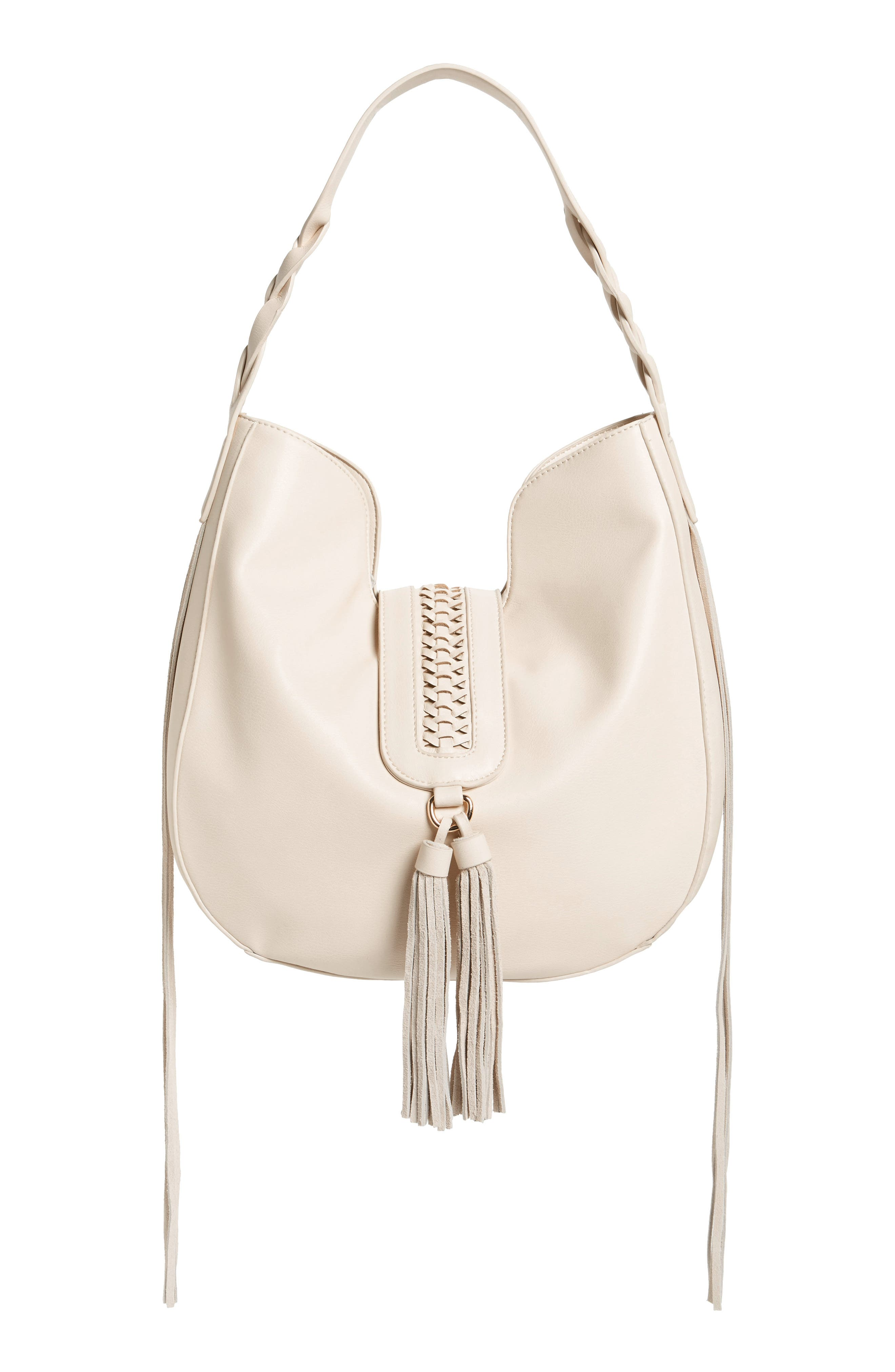 Lace-Up Tassel Faux Leather Hobo,                             Main thumbnail 1, color,                             White