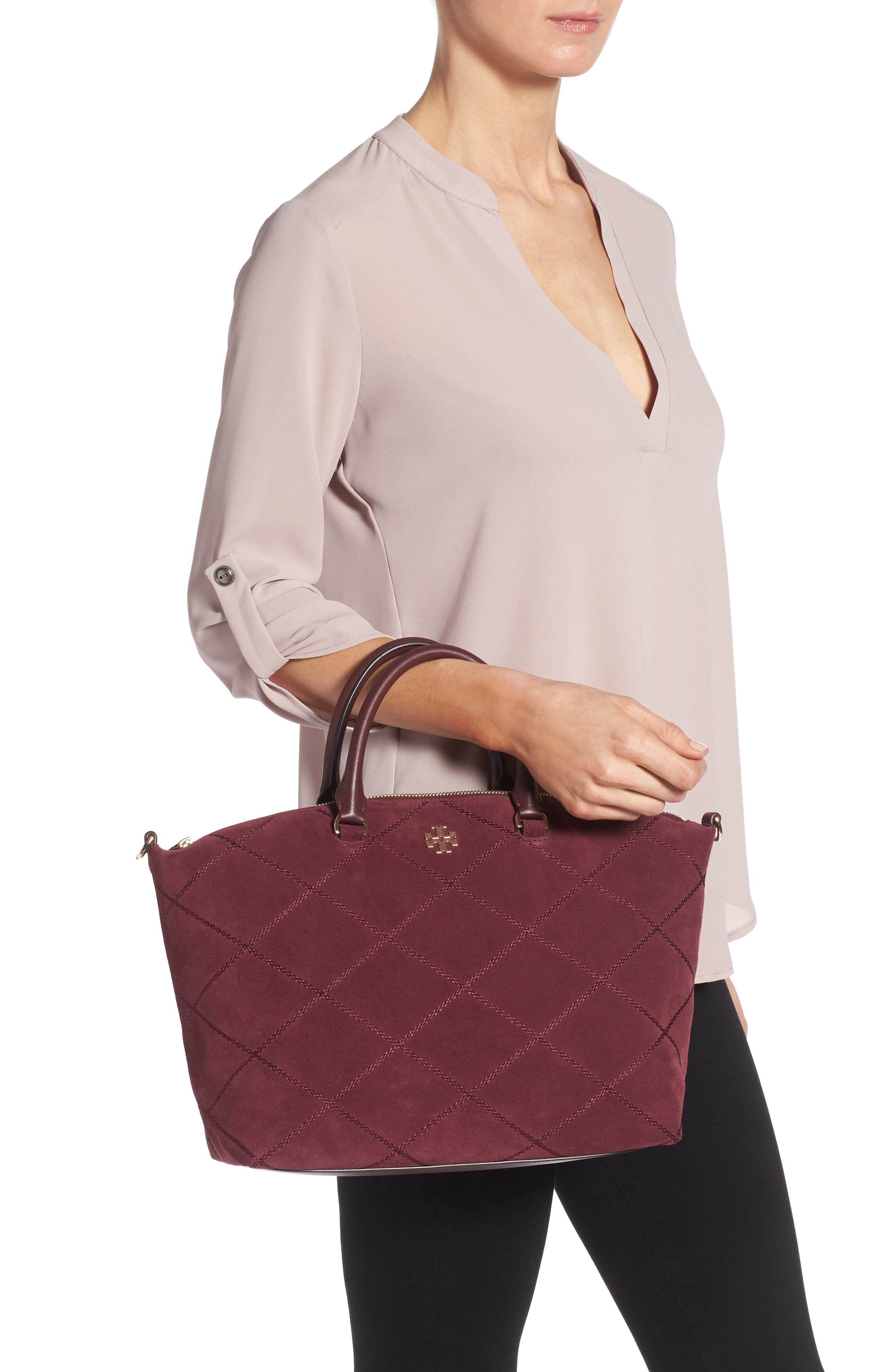 Alternate Image 2  - Tory Burch Frida Stitched Suede Satchel (Nordstrom Exclusive)