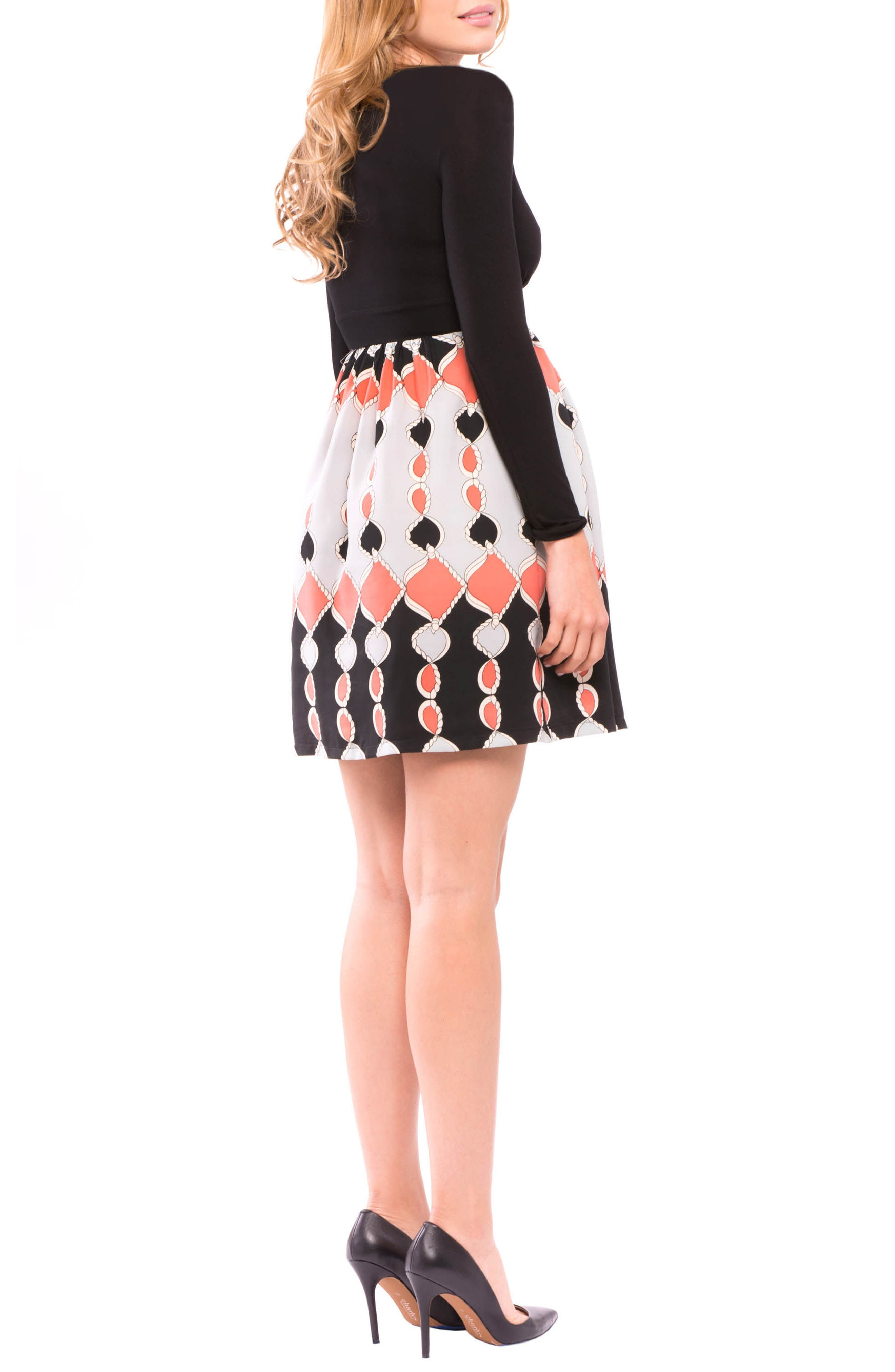 Lexi Print Maternity Dress,                             Alternate thumbnail 2, color,                             Black/ Coral Gray
