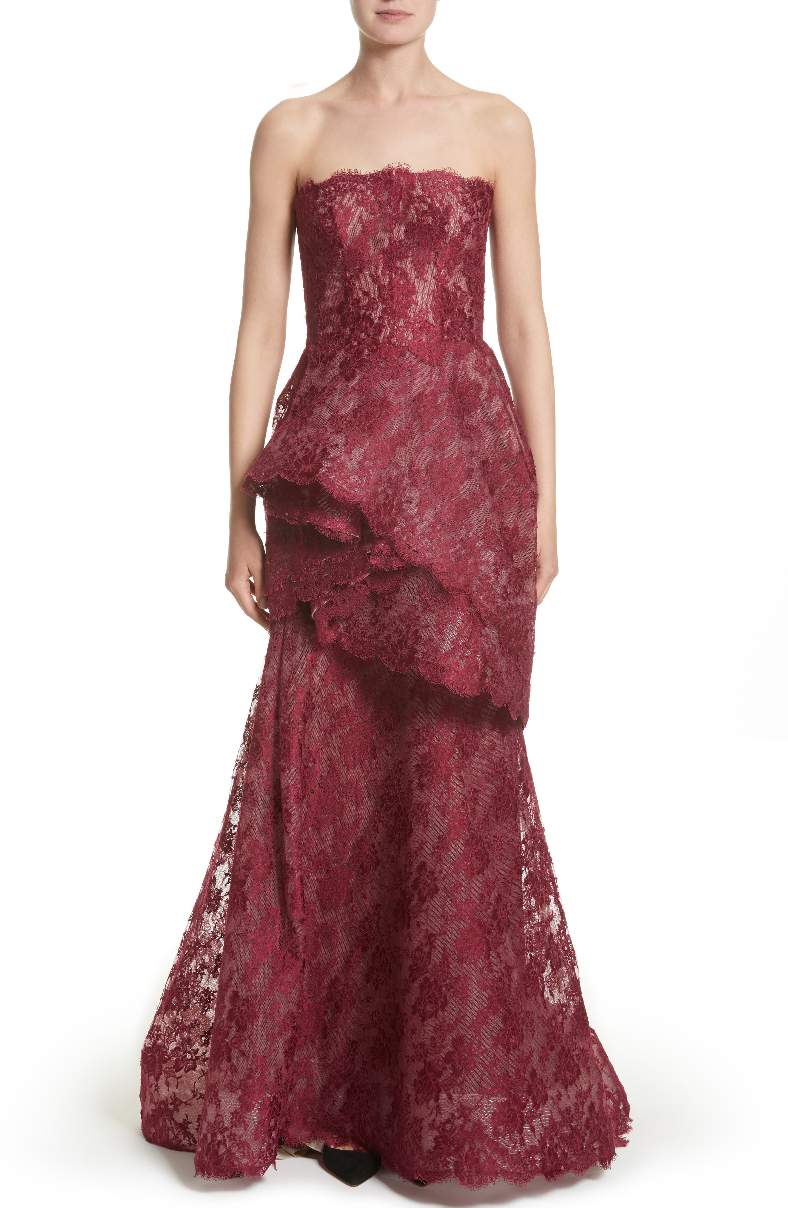 Tiered Strapless Lace Gown,                             Main thumbnail 1, color,                             Cherry
