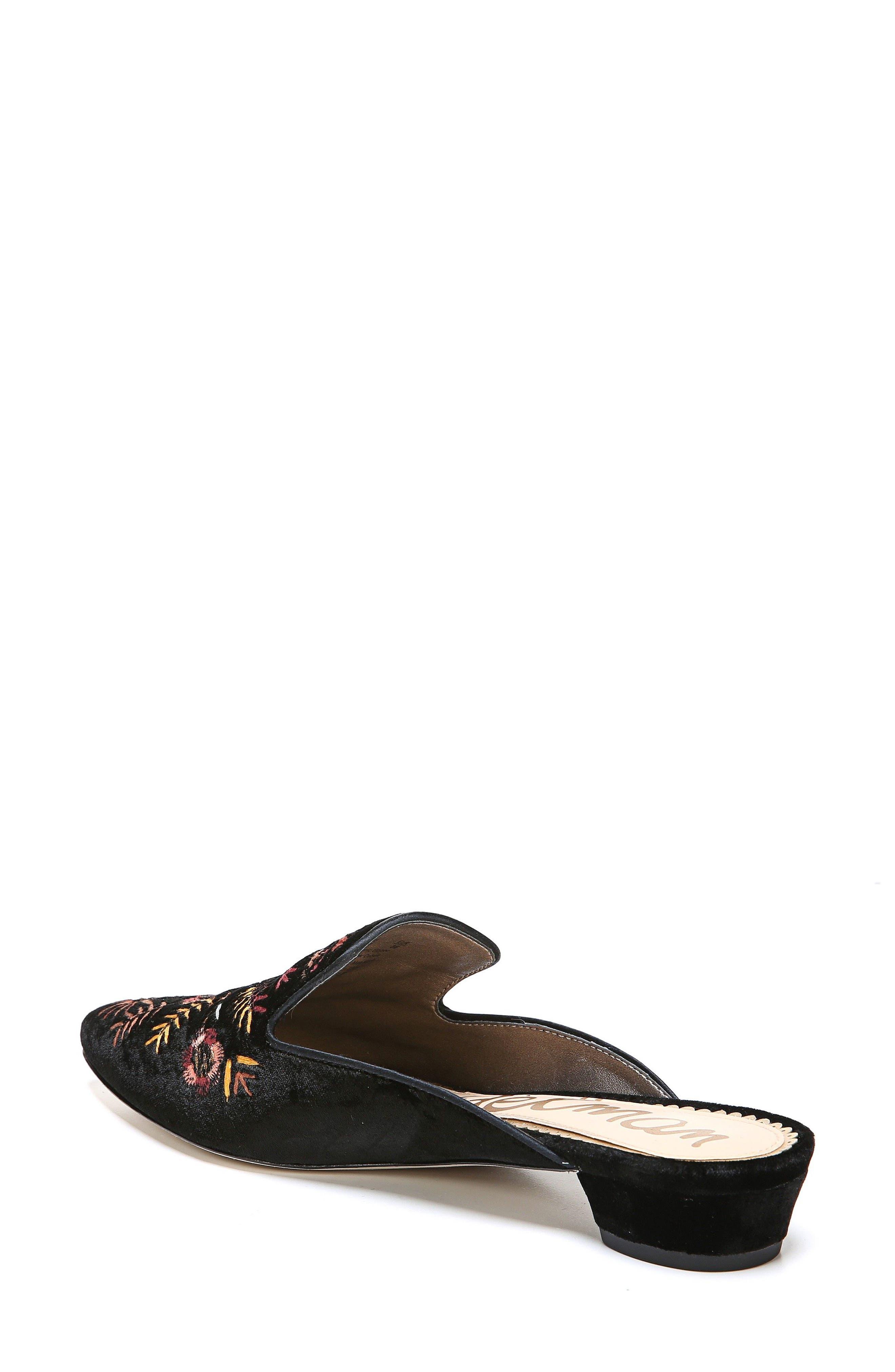 Ansley Pointy Toe Loafer Mule,                             Alternate thumbnail 2, color,                             Black Velvet