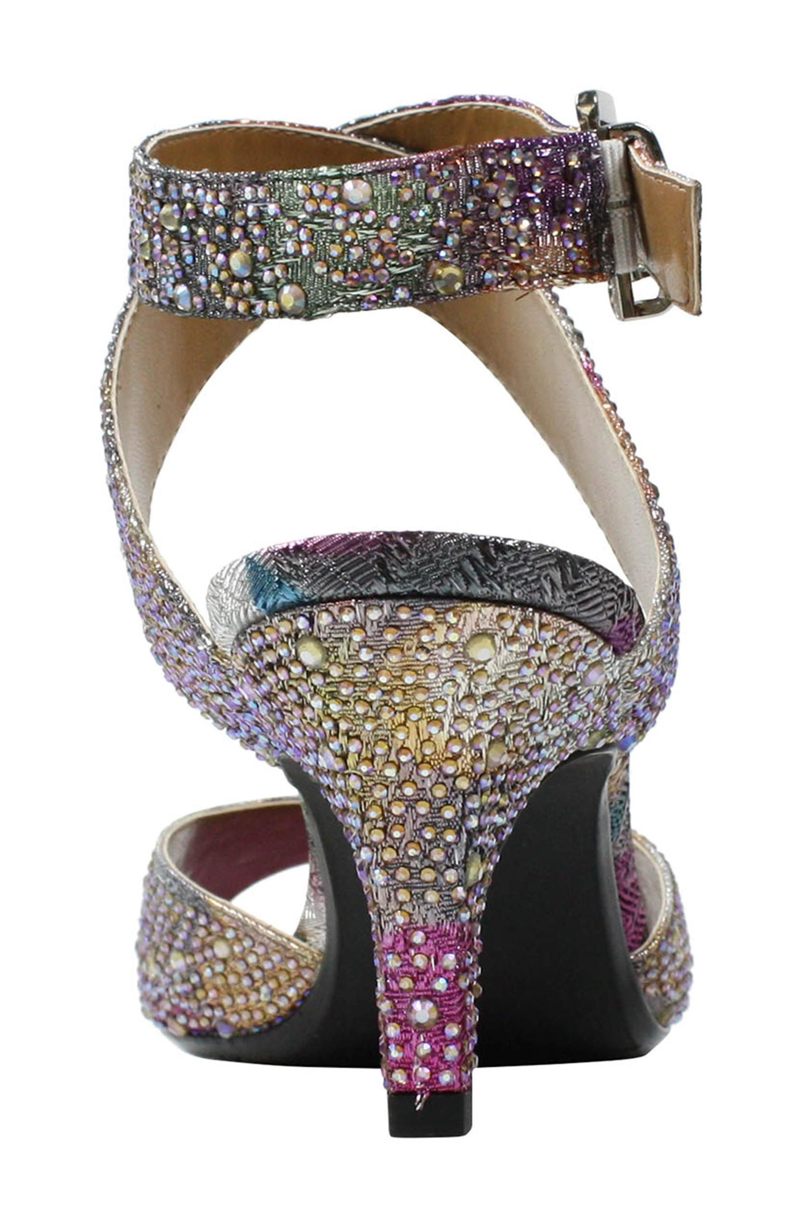 'Soncino' Ankle Strap Sandal,                             Alternate thumbnail 4, color,                             Silver/ Pastel Fabric