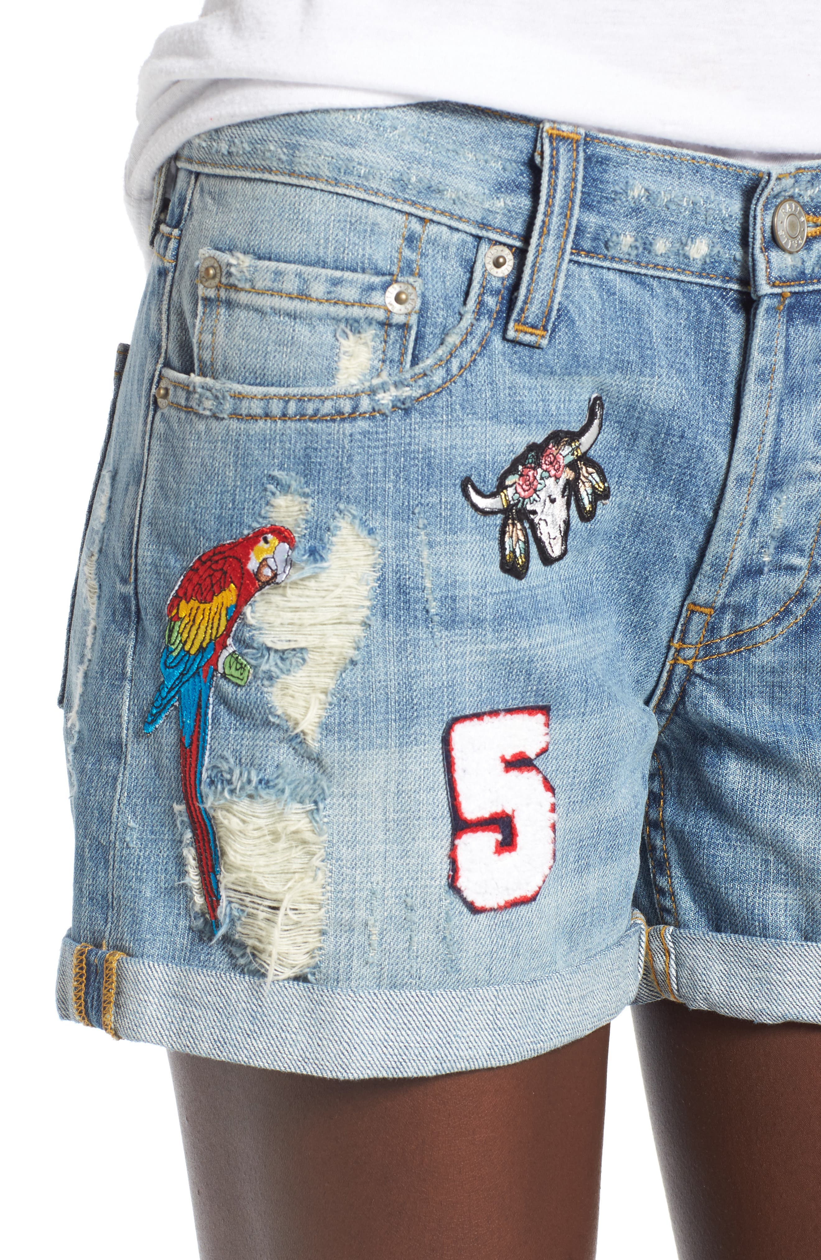 Logan Patch Denim Shorts,                             Alternate thumbnail 4, color,                             Medium Vintage Wash
