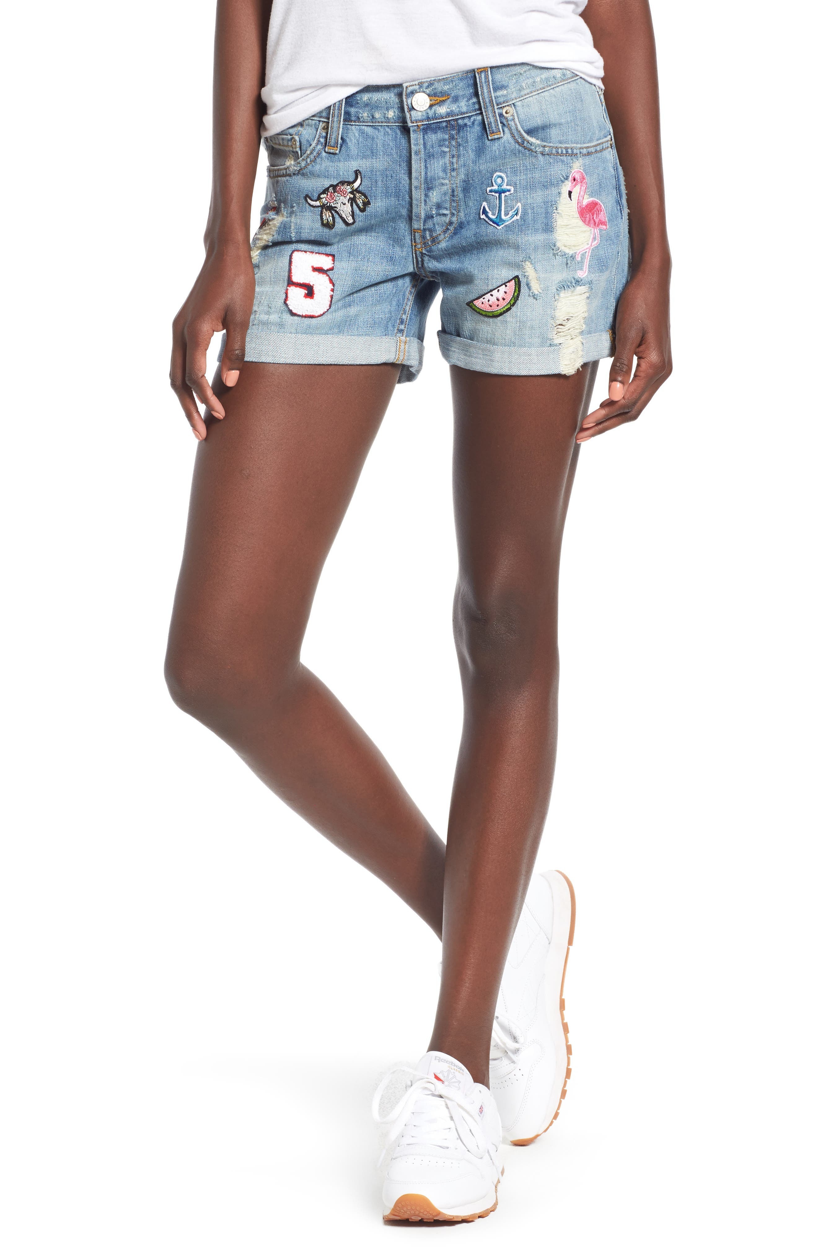 Logan Patch Denim Shorts,                         Main,                         color, Medium Vintage Wash