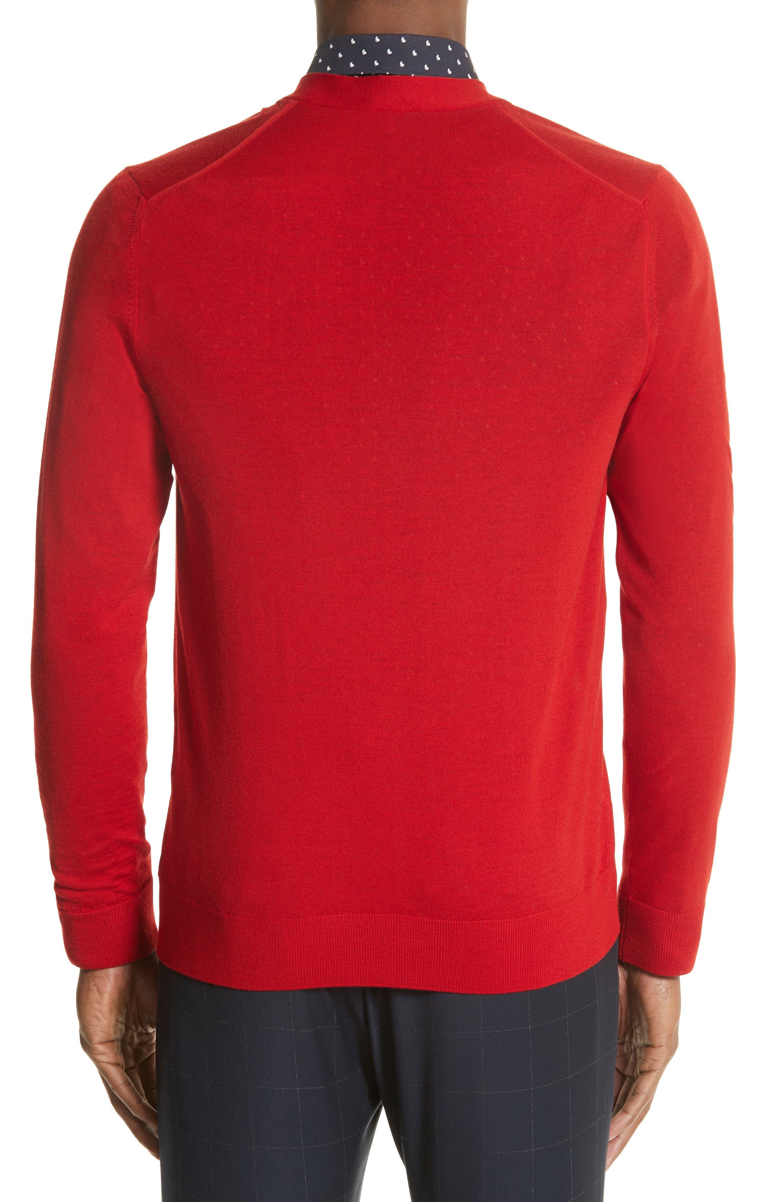 Merino Wool Cardigan,                             Alternate thumbnail 2, color,                             Red