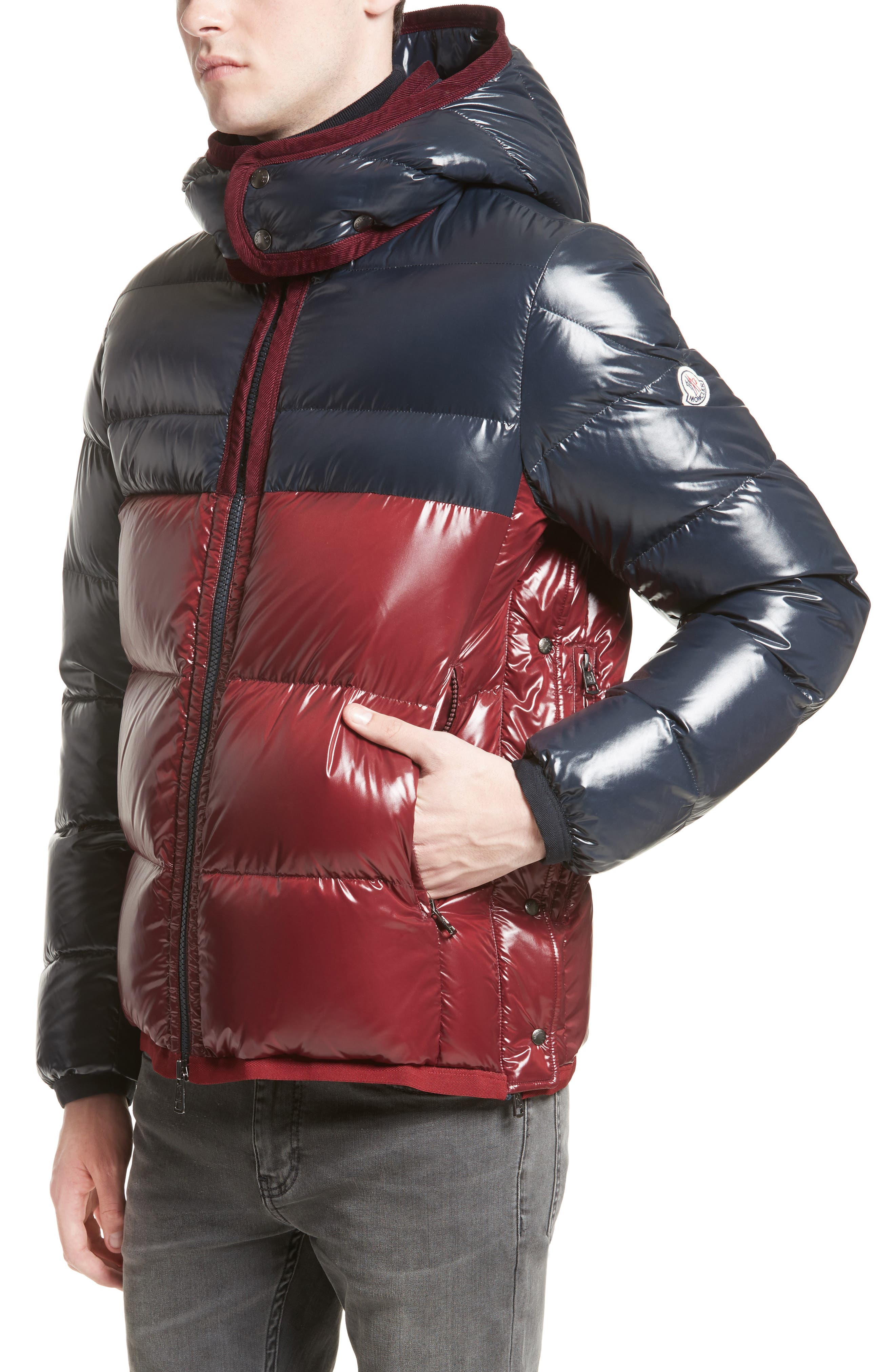 Harry Two-Tone Lacquered Hooded Down Jacket,                             Main thumbnail 1, color,                             Navy