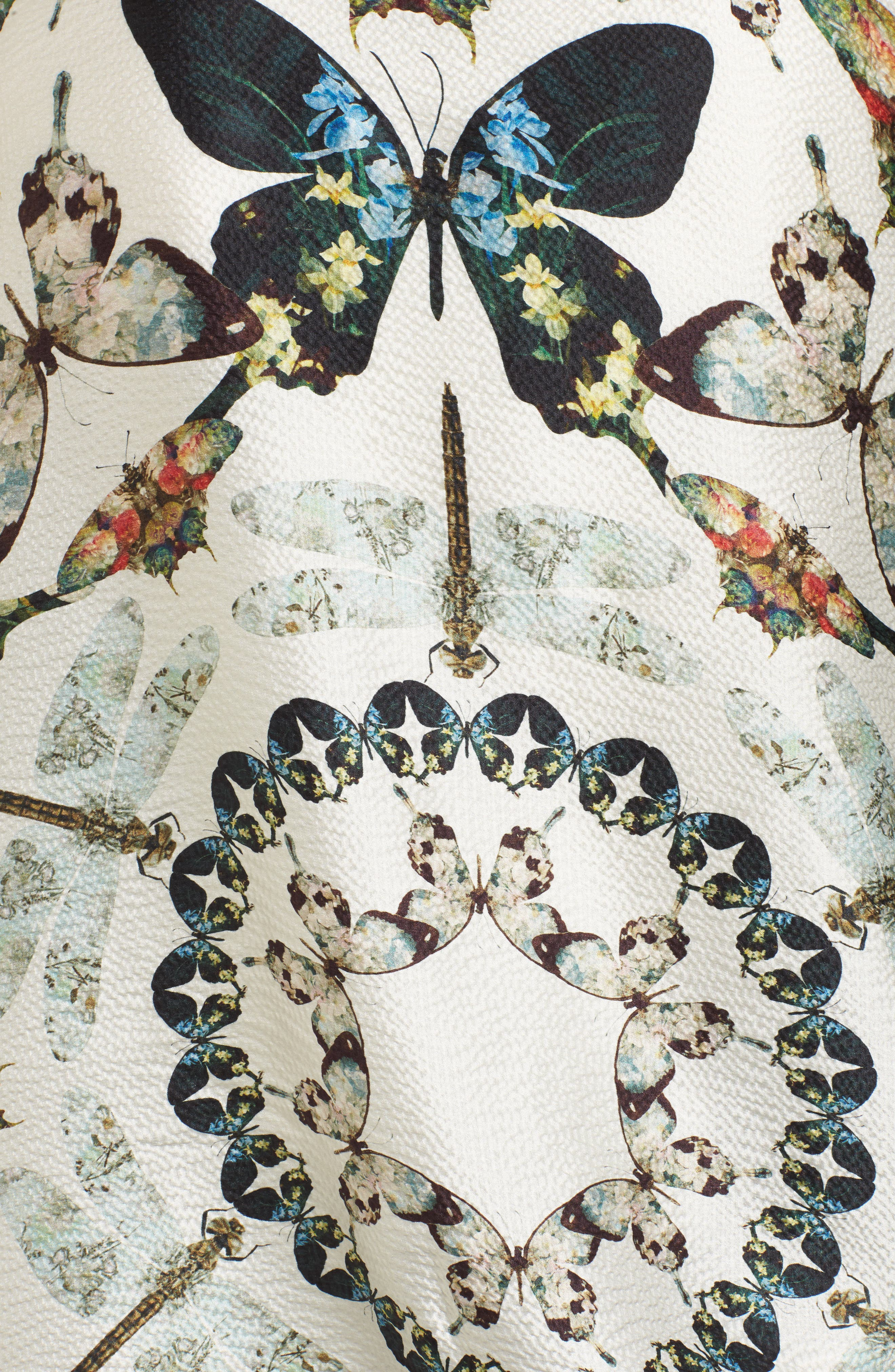 Butterfly Kaleidoscope Silk Cape Scarf,                             Alternate thumbnail 6, color,                             White