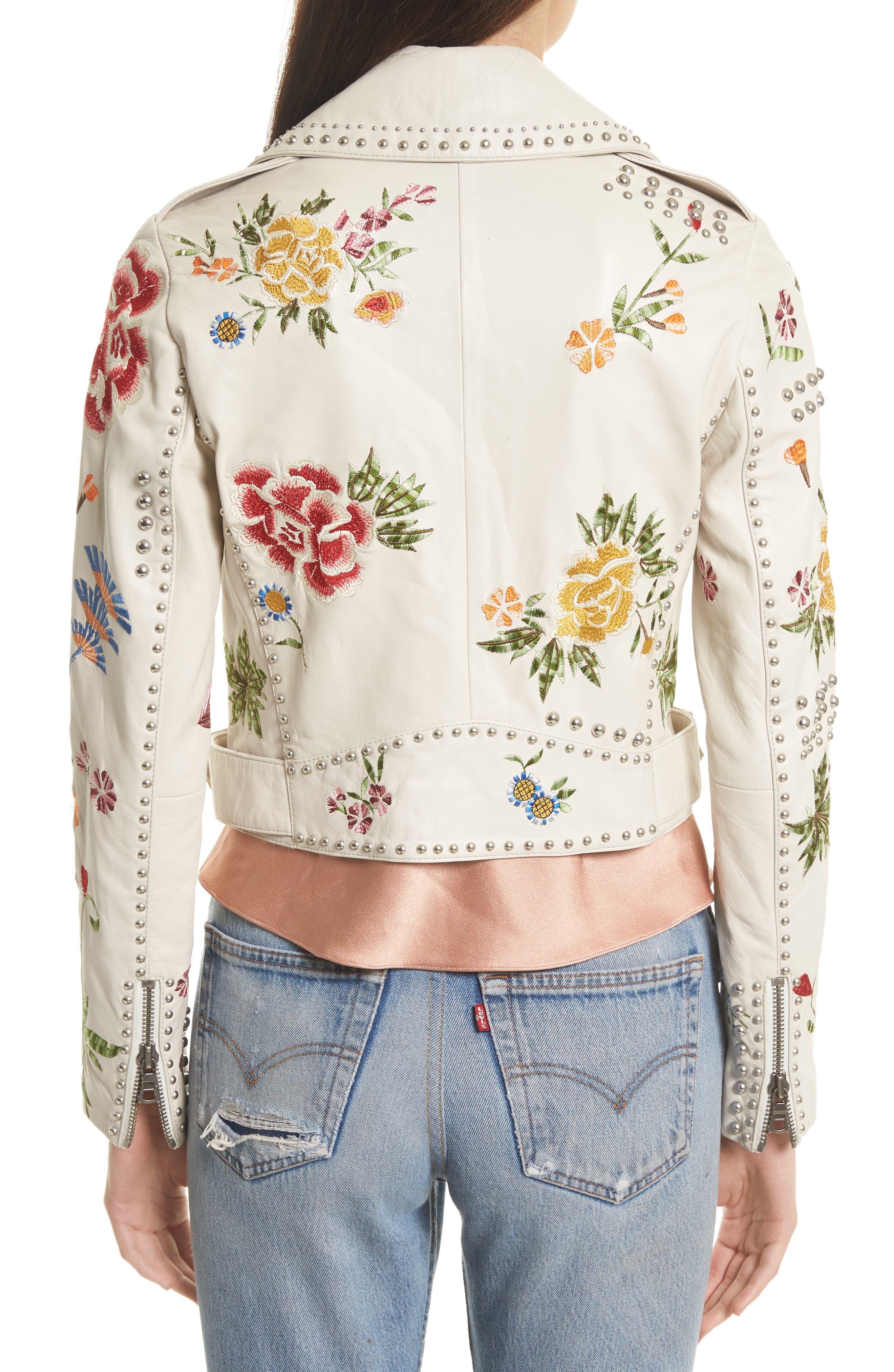 Cody Embroidered Crop Leather Jacket,                             Alternate thumbnail 2, color,                             Cream/ Multi