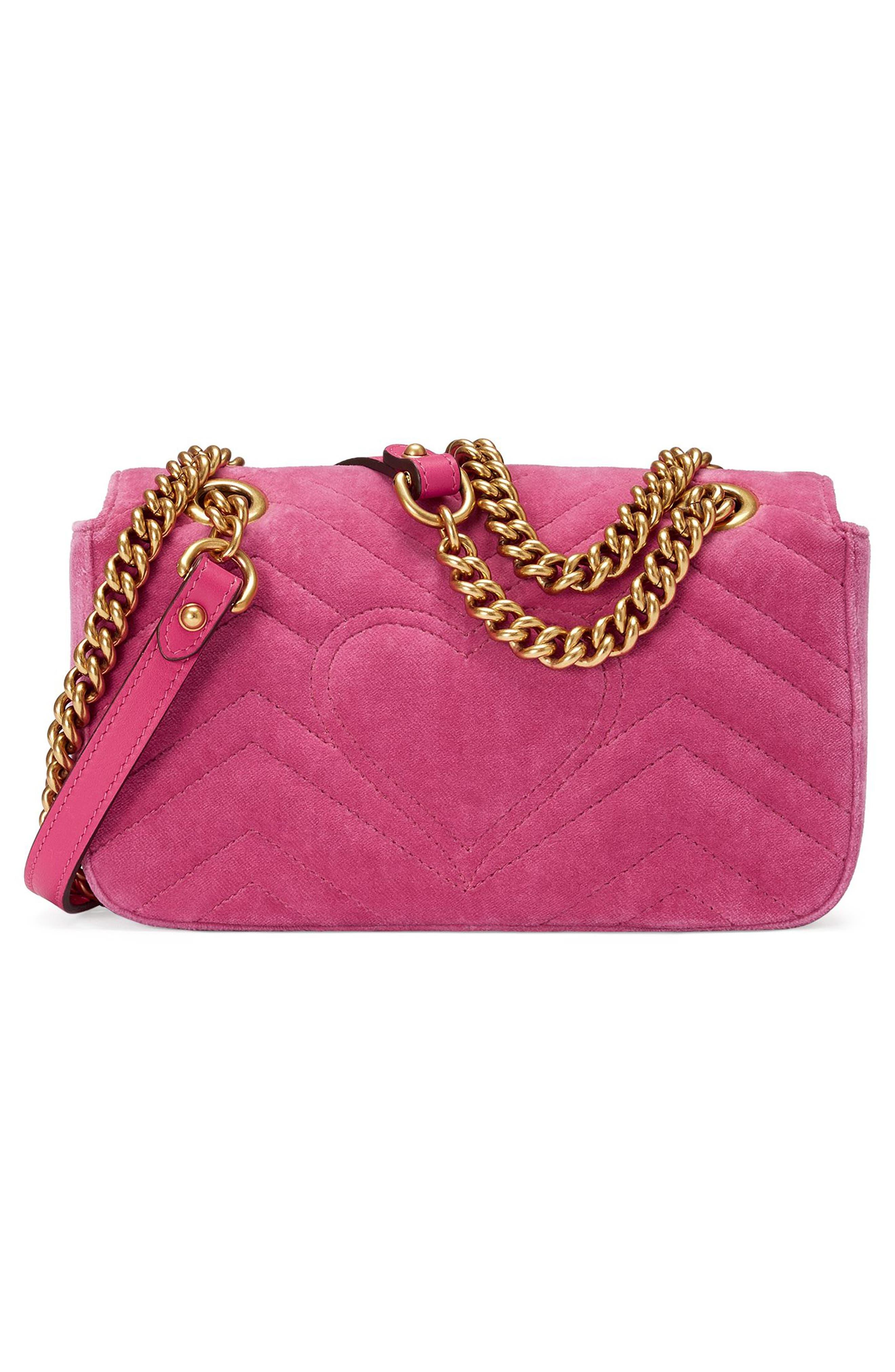 Mini GG Marmont Matelassé Velvet Shoulder Bag,                             Alternate thumbnail 2, color,                             Raspberry