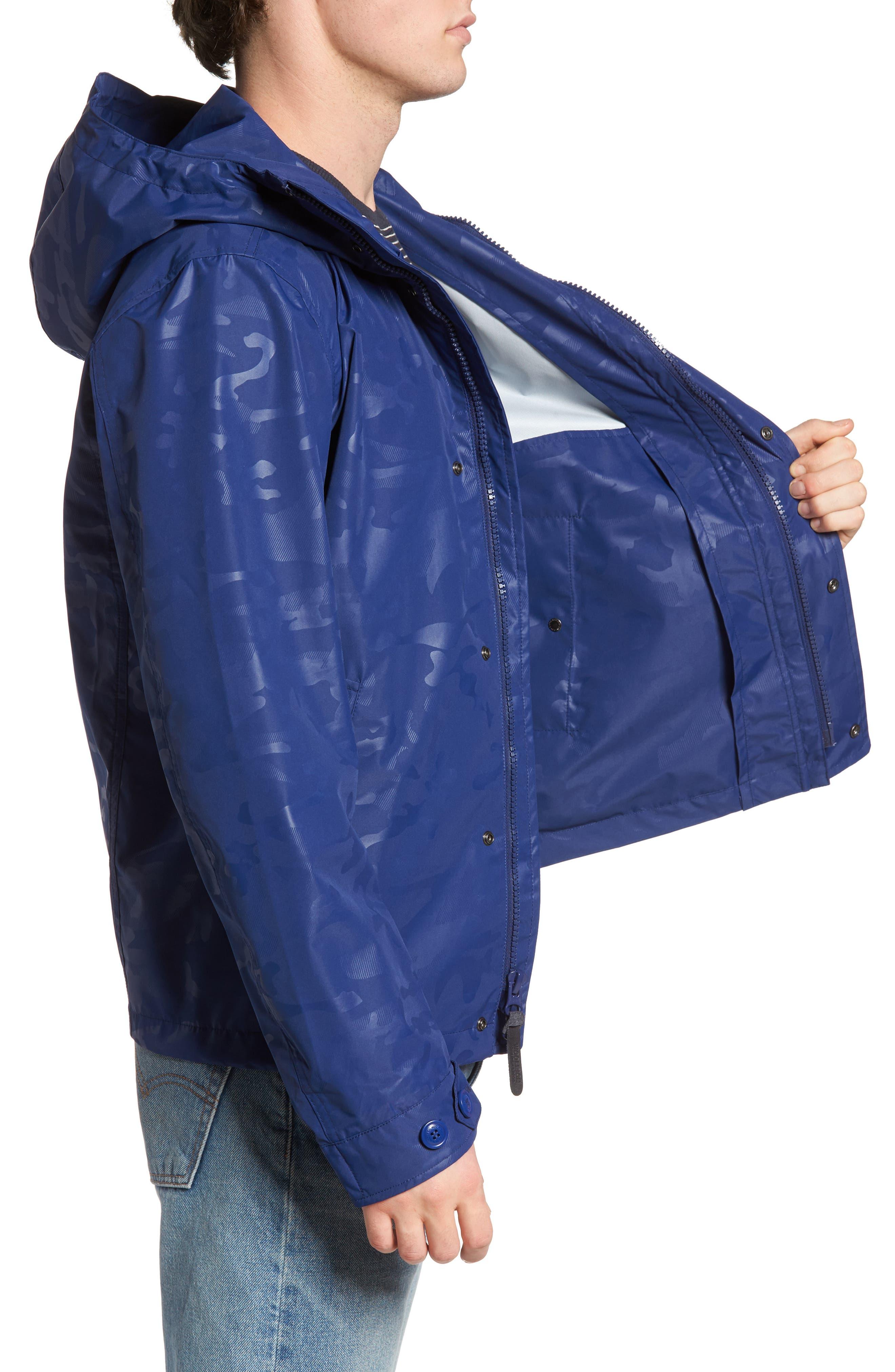 Camou Rudder Waterproof Jacket,                             Alternate thumbnail 3, color,                             Twilight Blue