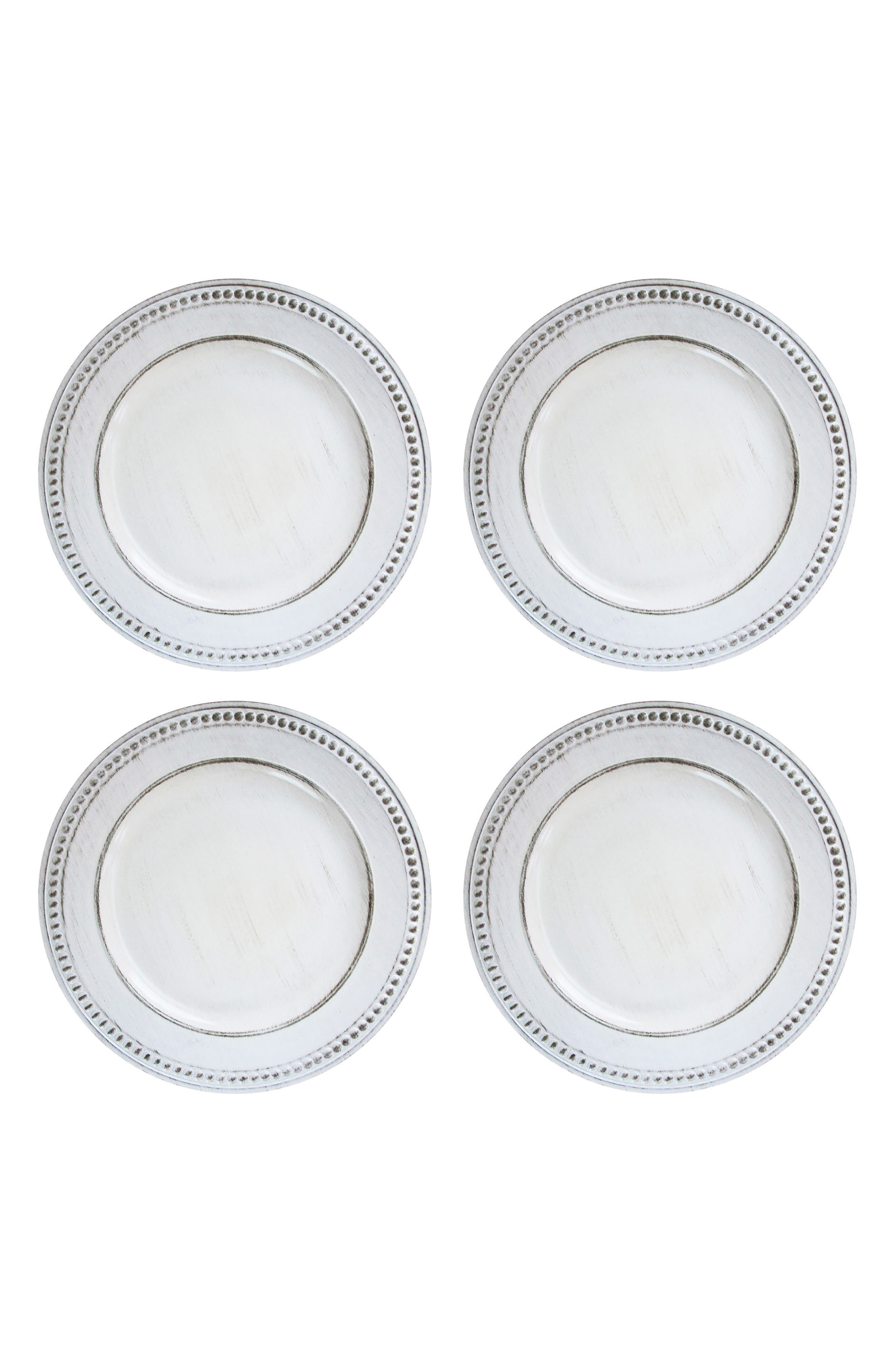Set of 4 Beaded Antique Charger Plates,                         Main,                         color, White